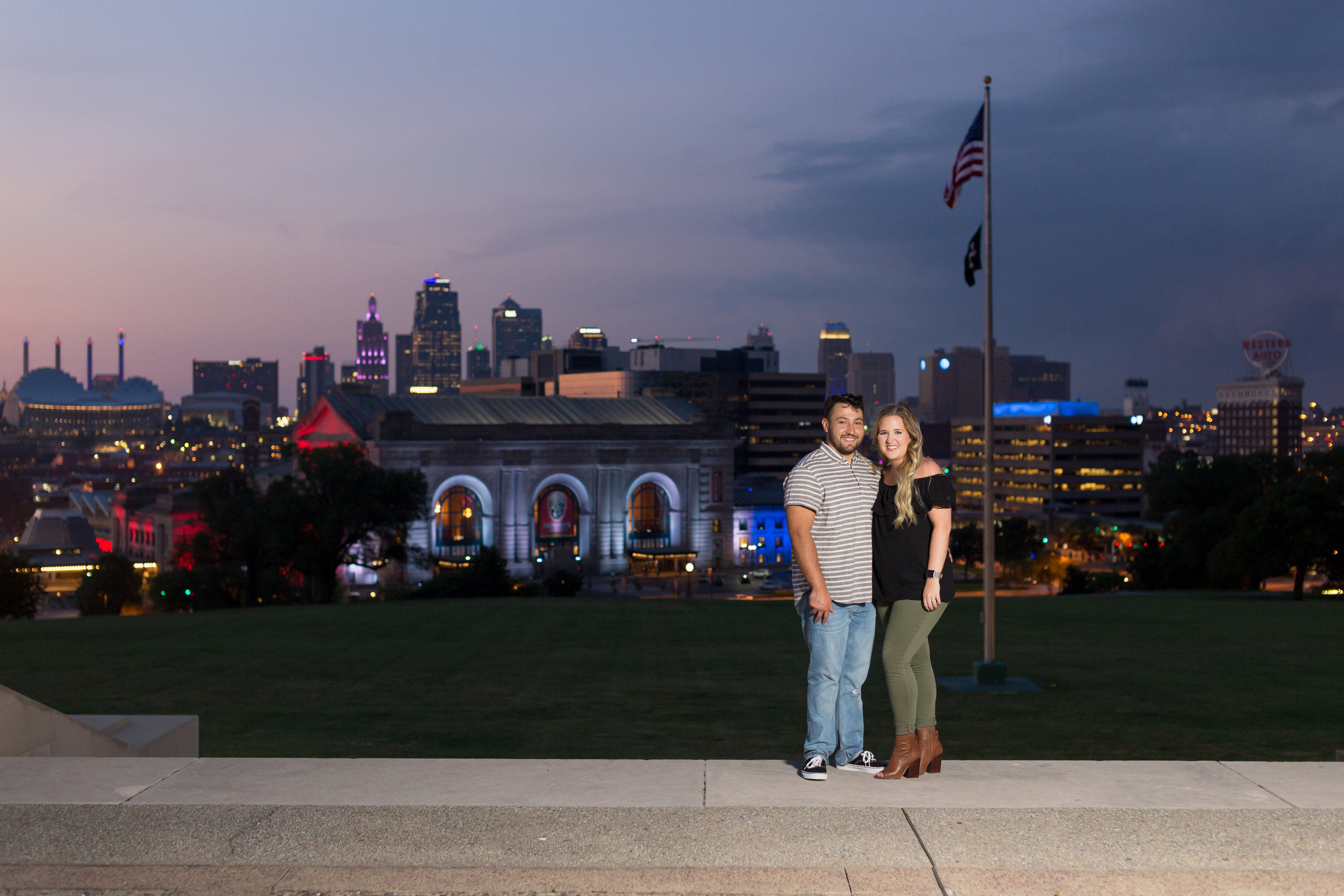 Kansas City Union Station Skyline Couple Photo Session