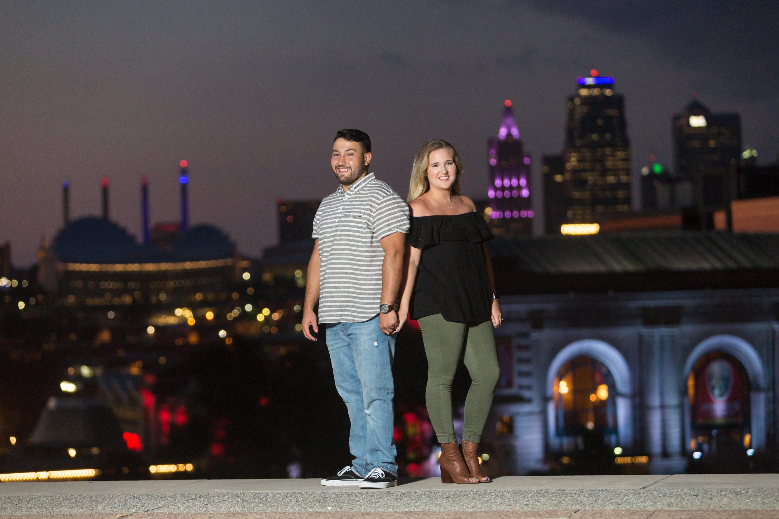Kansas City Union Station Skyline Couple Photo Session night image