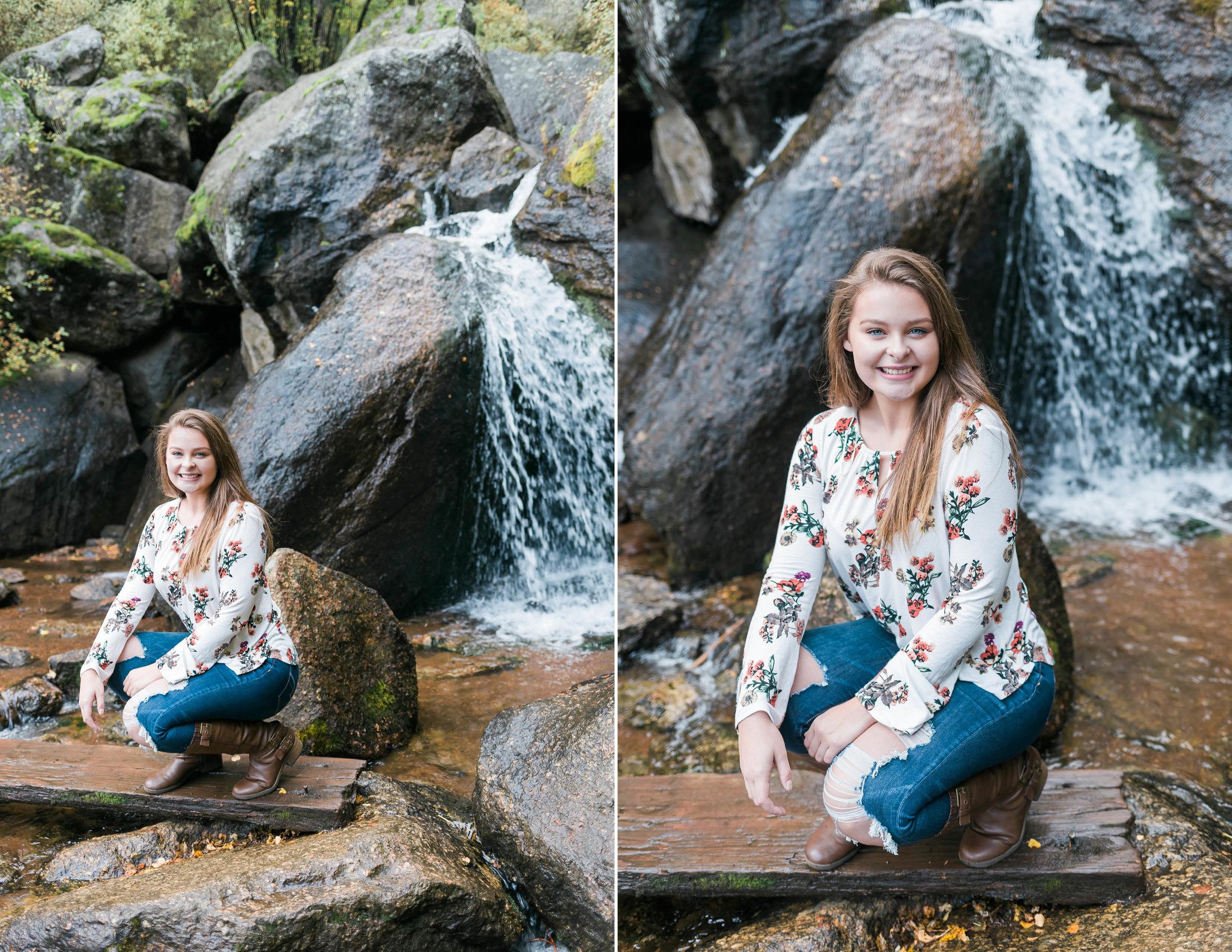 waterfall senior photos Colorado, kansas city