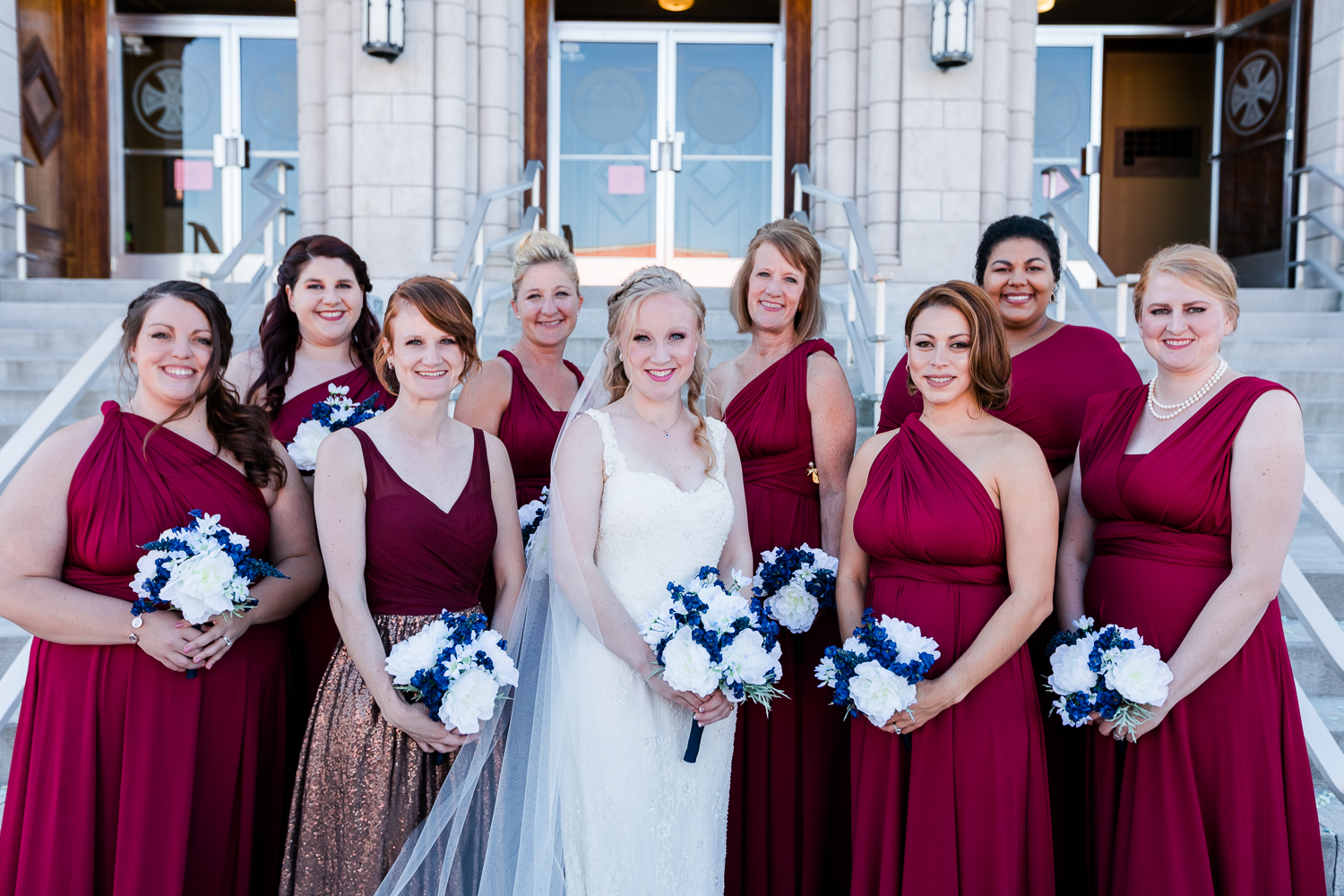 kansas city bridal party red bridesmaids dresses