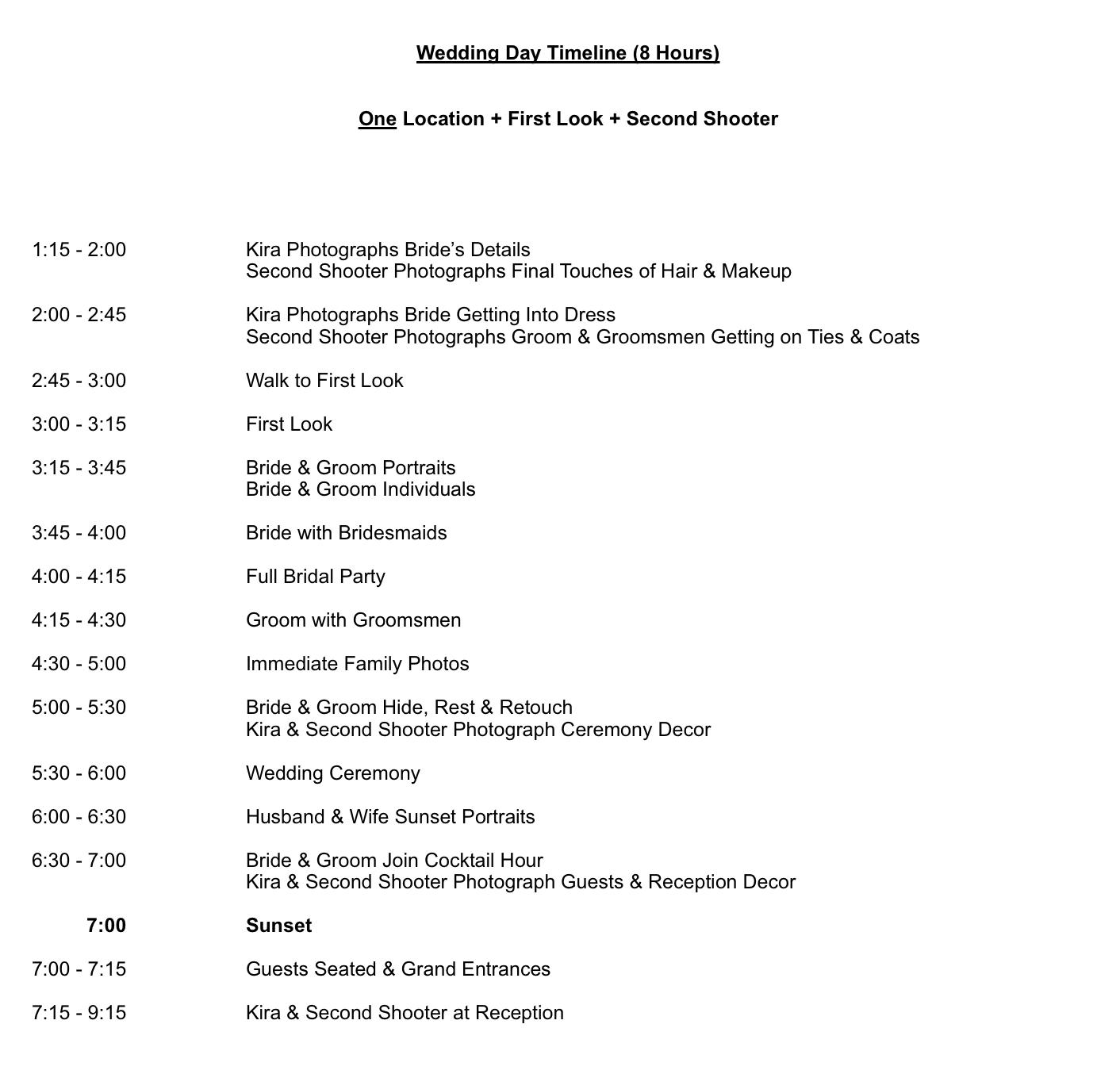 sample timeline for 8 hour wedding