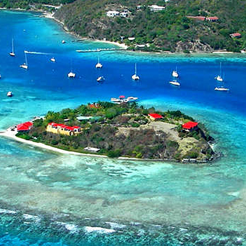 """Marina Cay is an  island of the  British Virgin Islands in the  Caribbean .  The 8-acre (32,000 m2) island was uninhabited until 1937, when author  Robb White and newly married wife Rosalie """"Rodie"""" Mason settled on the island. Originally having settled on the nearby island of  Tortola , White had found the insect problem to be unbearable, and spent weeks sailing during the day searching for a new island home."""