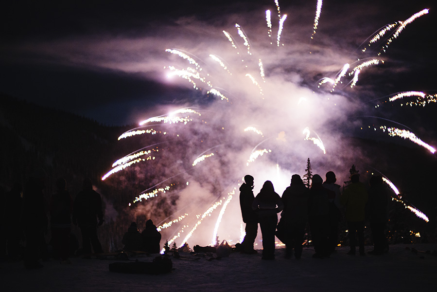 Sun Peaks Big Air competitors admiring the fireworks on New Years.