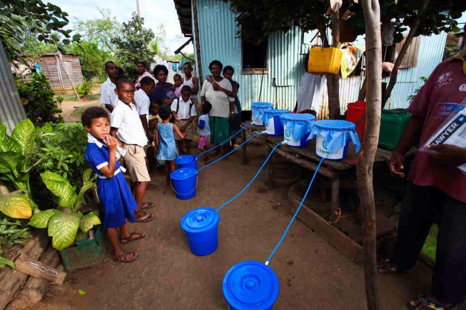 Water filter install in Fiji.