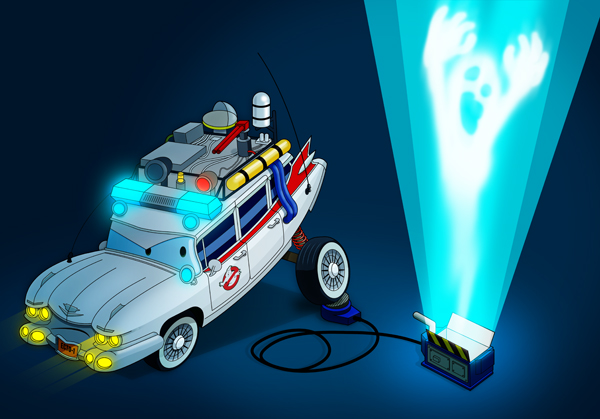 Ghostbusters meets Cars mashup. Digital illustration by Joey Ellis.