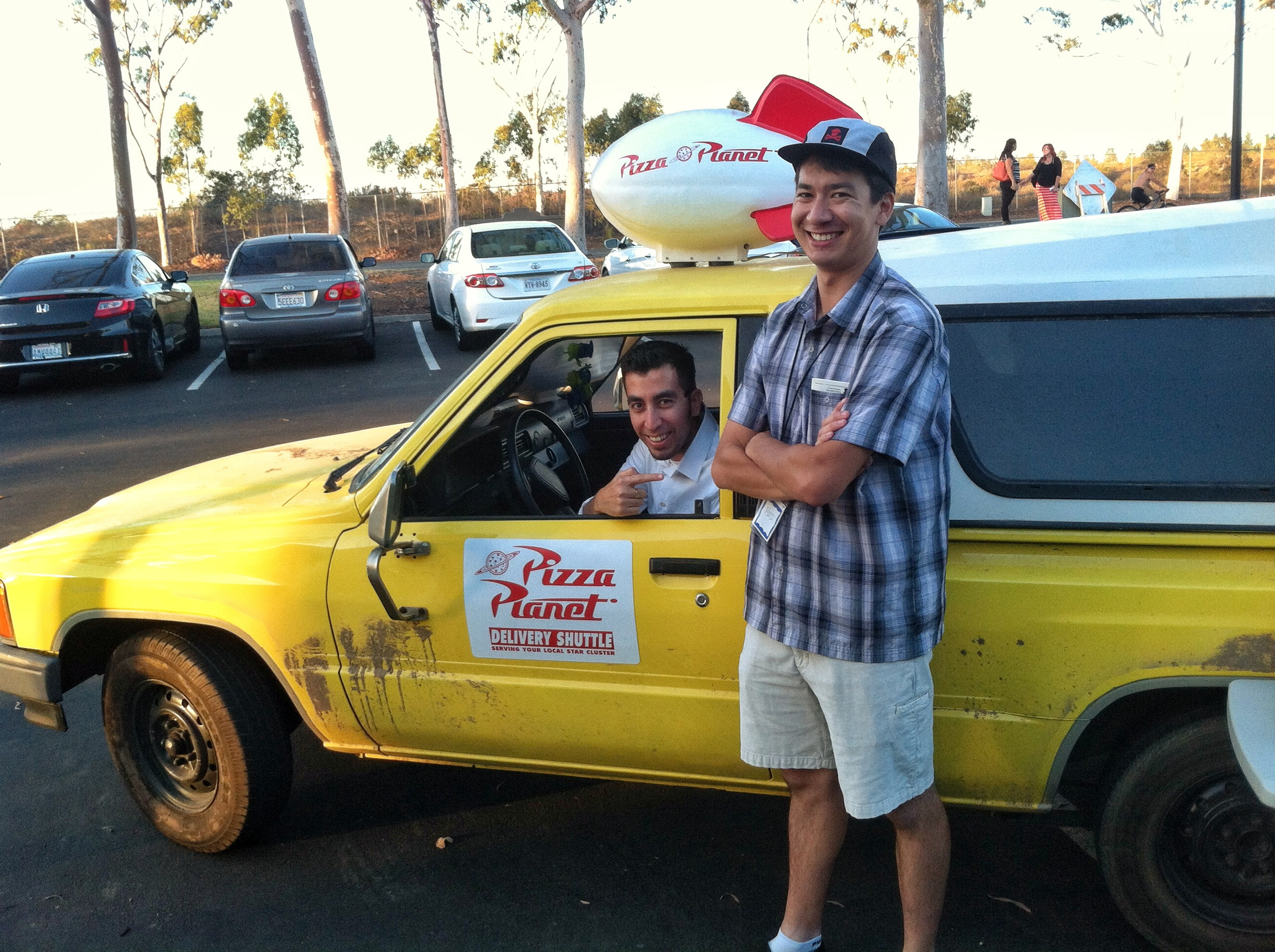 Hanging with my friend Marco and his Pizza Planet Truck.