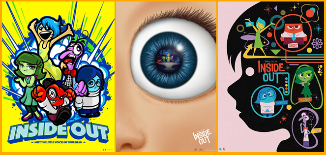 Pixar's Inside Out collaboration with artists,  Salvador Anguiano,  Matt Needle,   and   Adam Rabalais   of the Poster Posse (left to right).