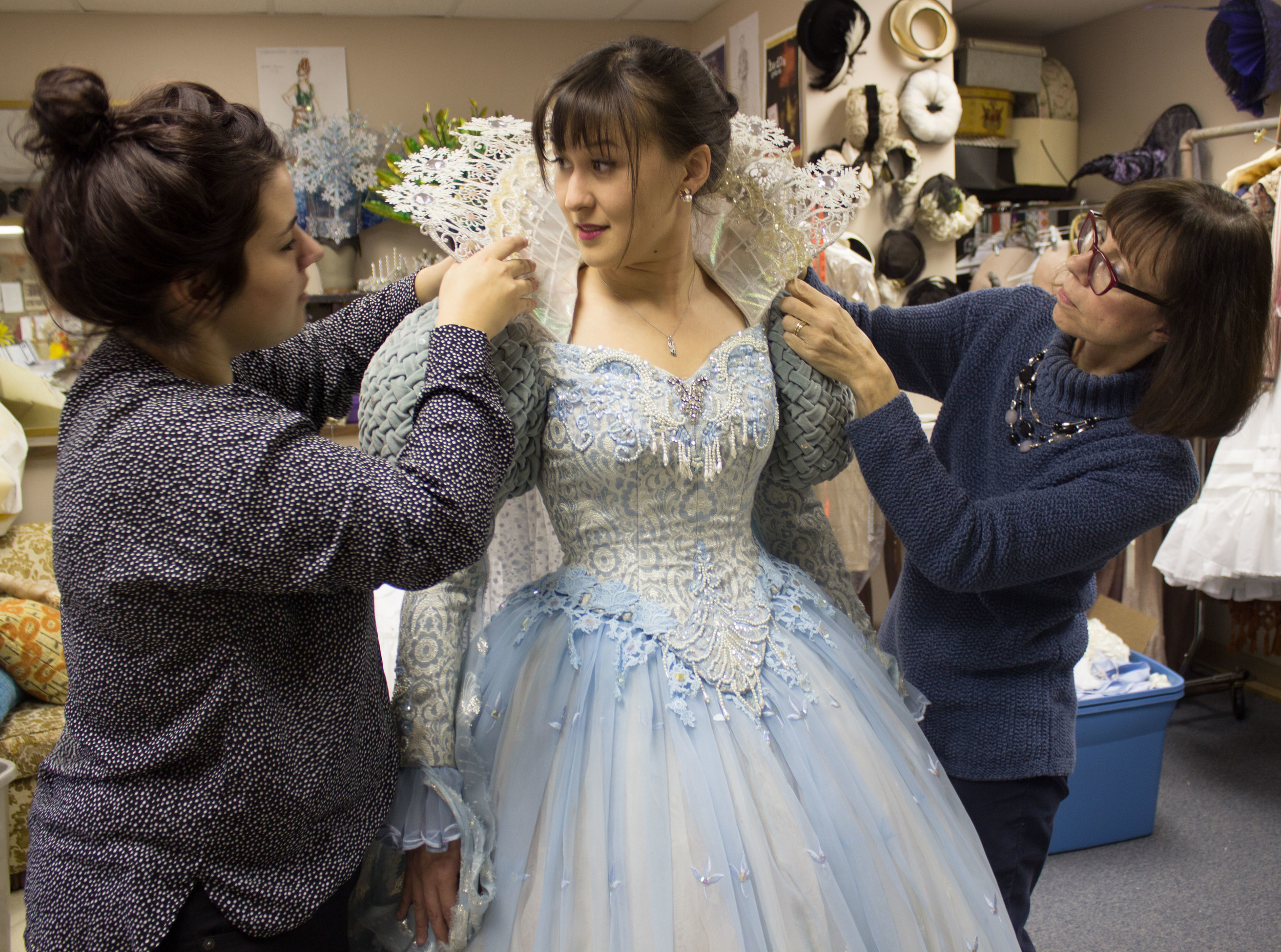 Emily Gardner Hall Snow Queen costume fitting