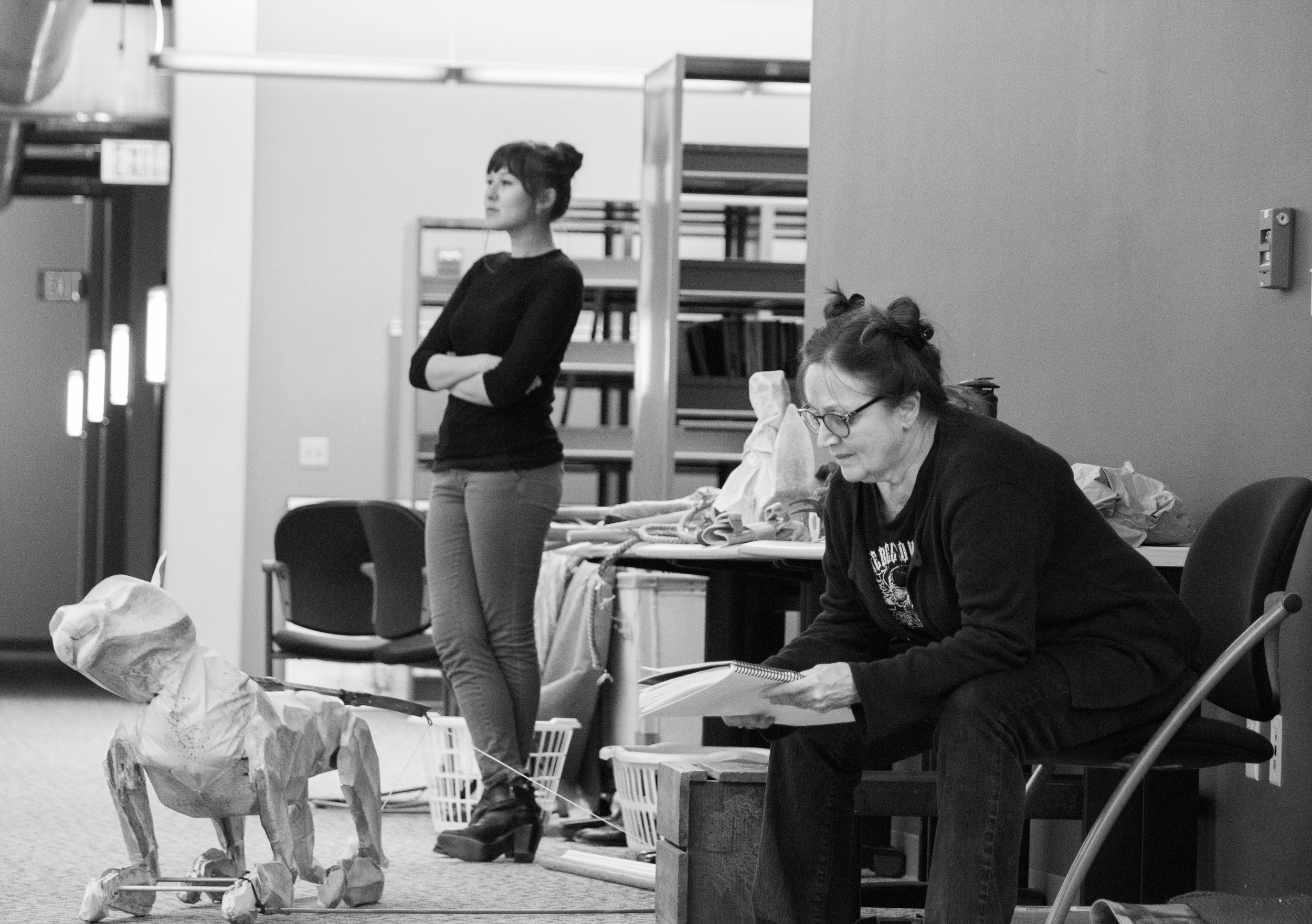 Emily Gardner Hall and Patti Perkins, and the Mountain Cat, in rehearsal