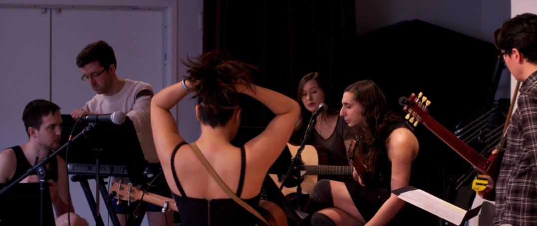 Band in rehearsal. From left: Ryan, Robert, Diana, Emily, Andi, Matt