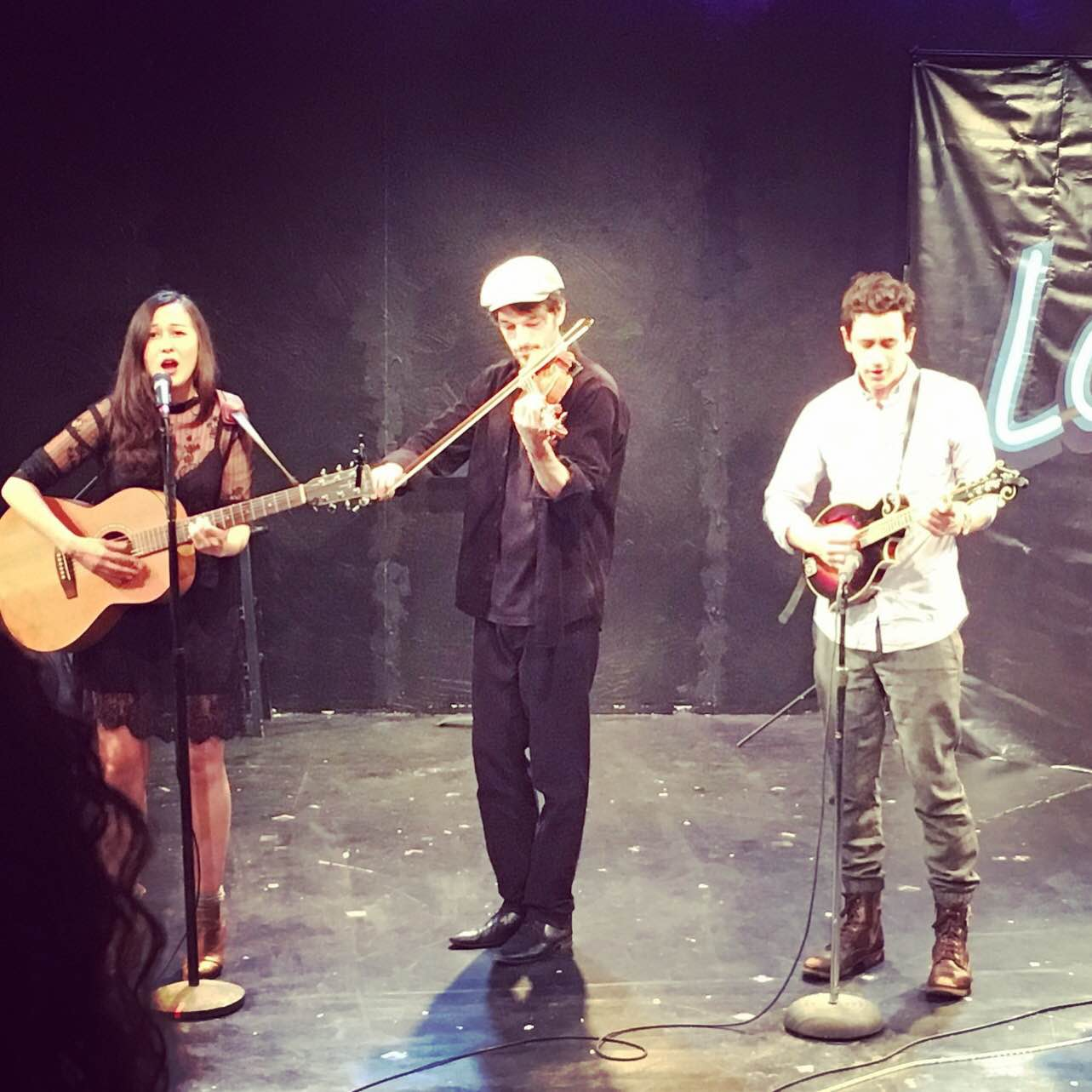 left to right: Emily Gardner Hall with Jordan Hall and Stephen Stocking at Ensemble Studio Theatre