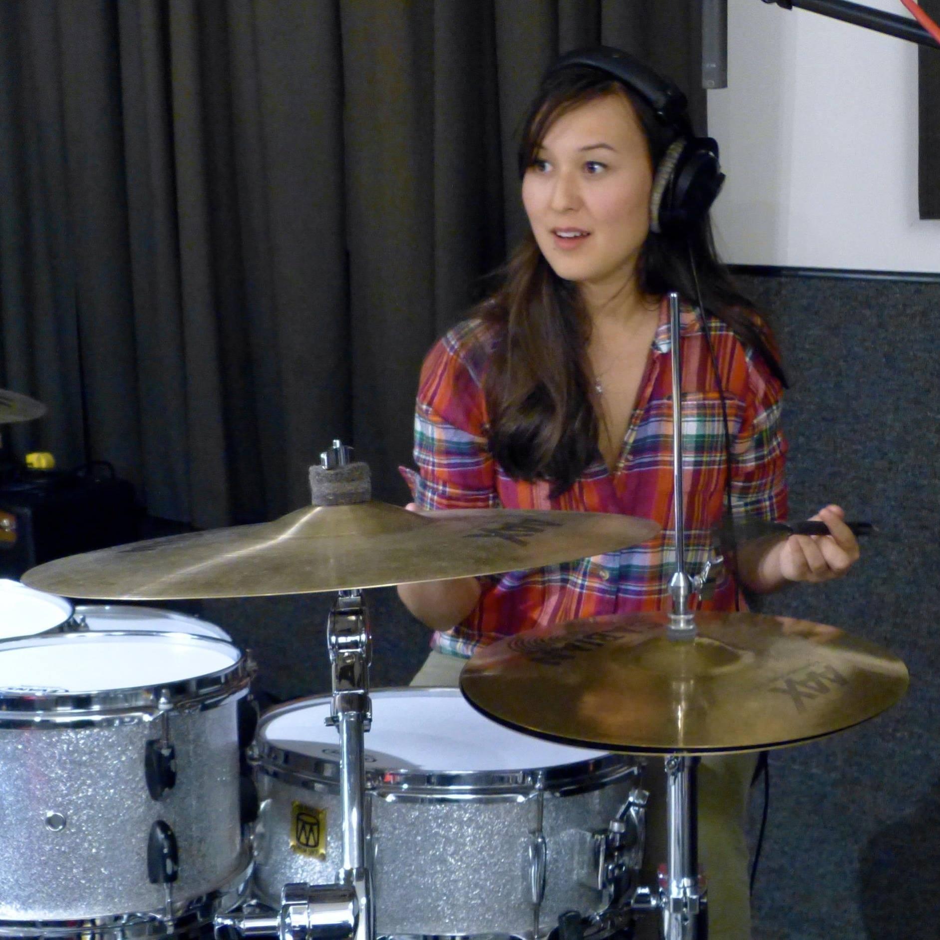 Emily in the recording studio
