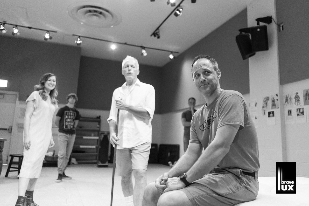 Timothy Edward Kane with Larry Yando and Emily Gardner Xu Hall in rehearsal for NELL GWYNN