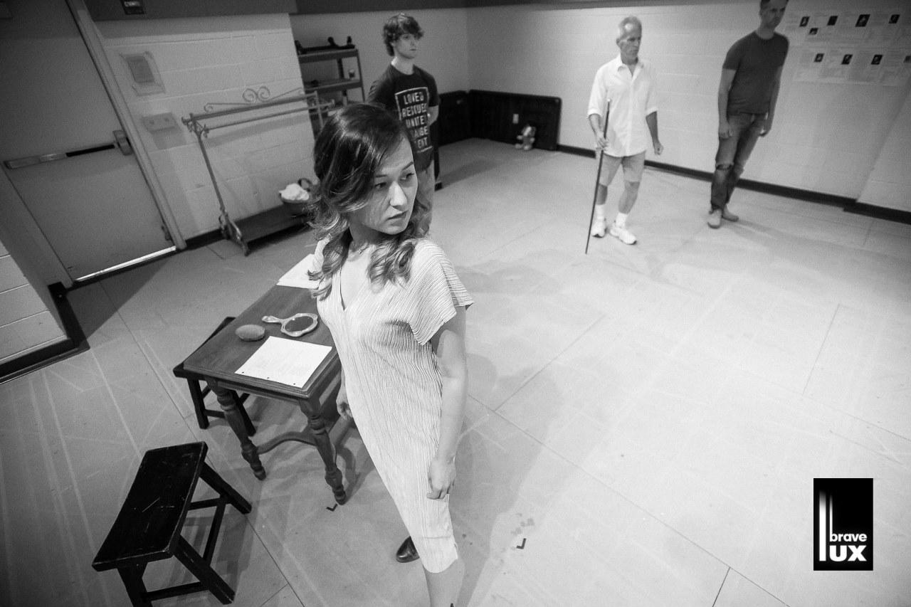 Emily Gardner Xu Hall in rehearsal for NELL GWYNN