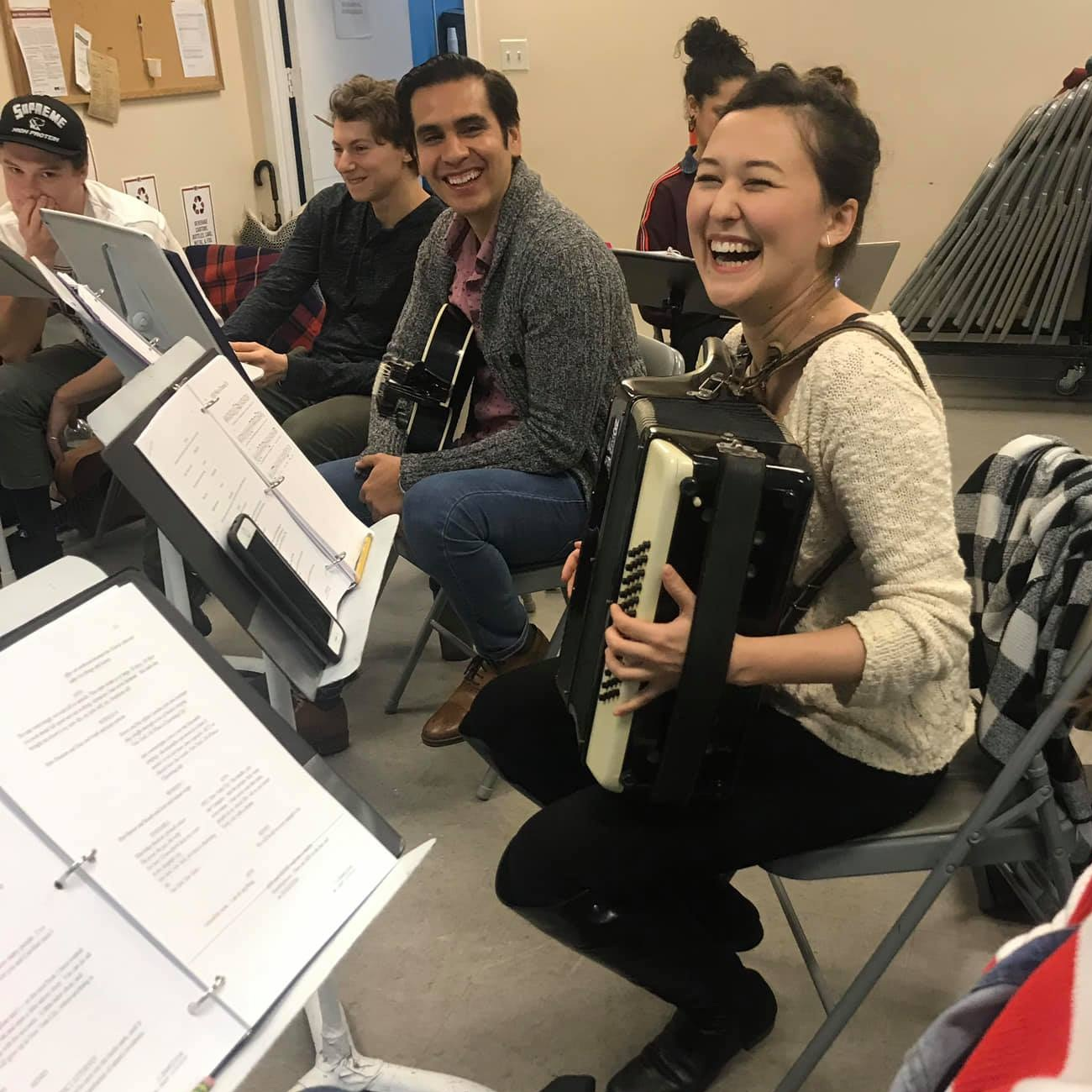 Emily rehearsing with accordion