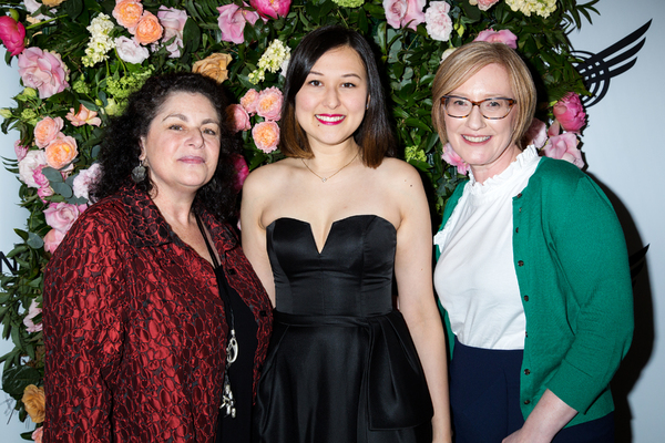 Emily Gardner Xu Hall at the American Theatre Wing Jonathan Larson Grant presentation with Julie Larson and Heather Hitchens, President & CEO of the American Theatre Wing. Photo: Jennifer Broski for BroadwayWorld