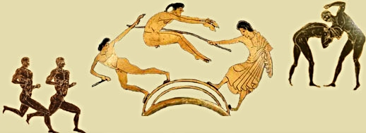 Vase paintings of training in the Spartan militaryritual,  The Agoge .