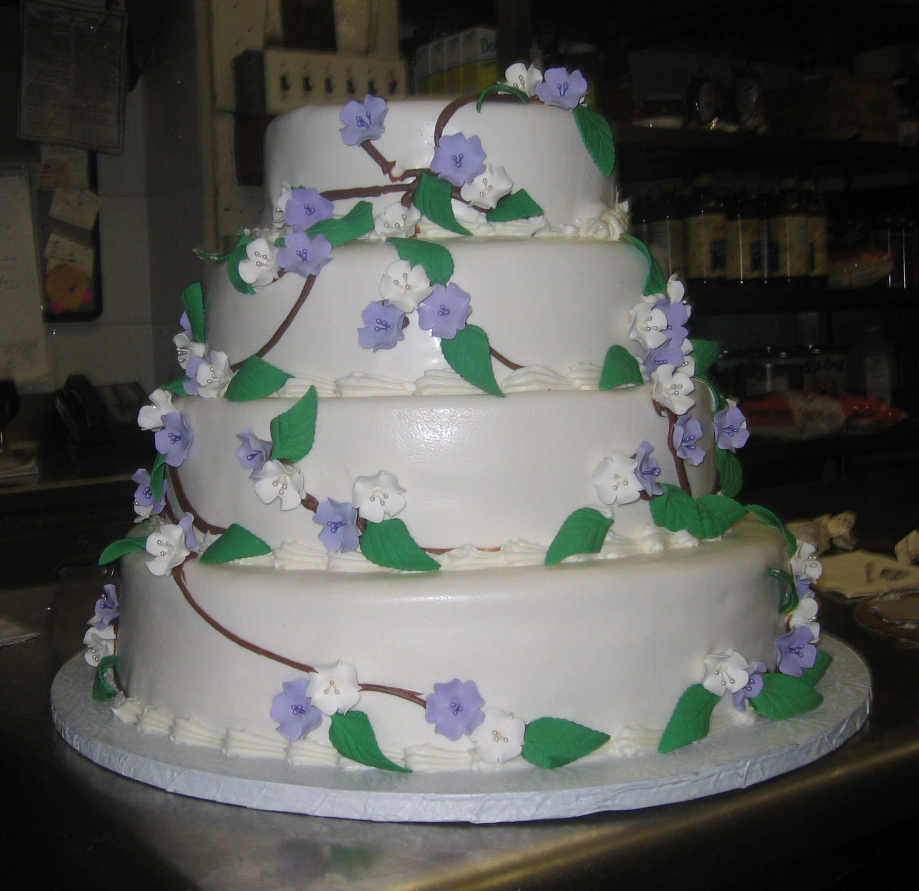Butter Cream Lavender & White Fruit Blossom Vine with Gum Paste Roses