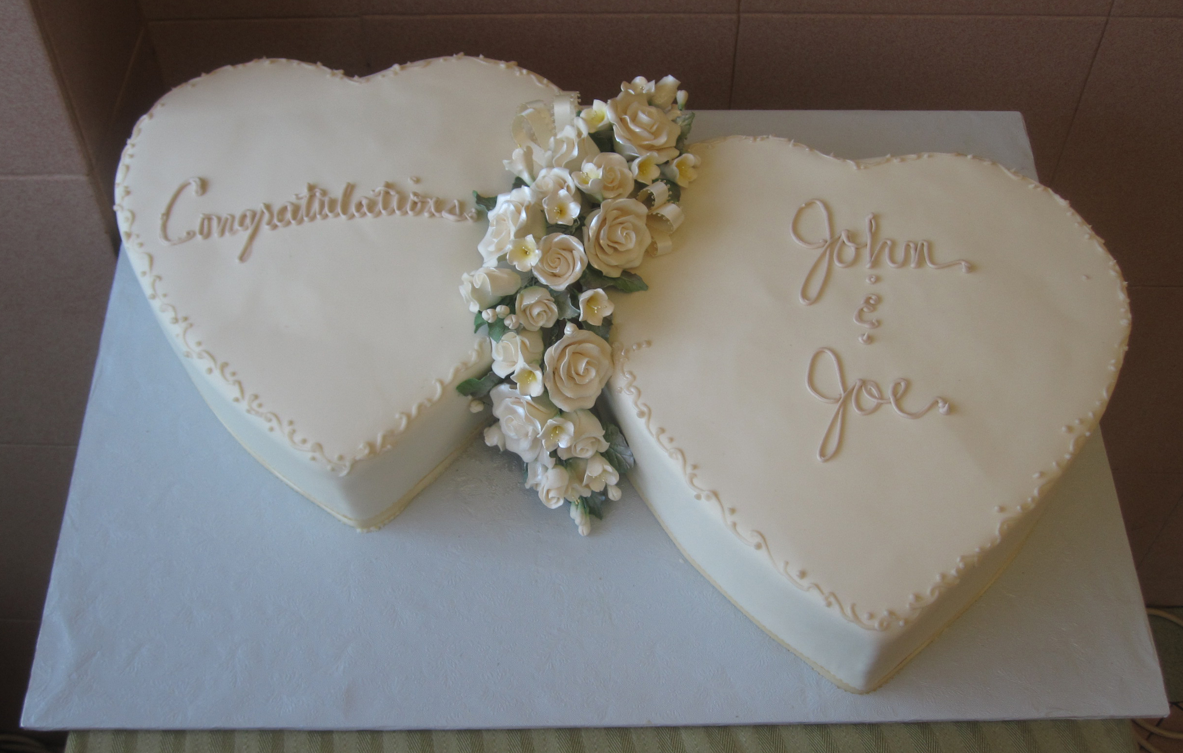Joined Hearts in Ivory Rolled Fondant Gum Paste Floral Bouquet