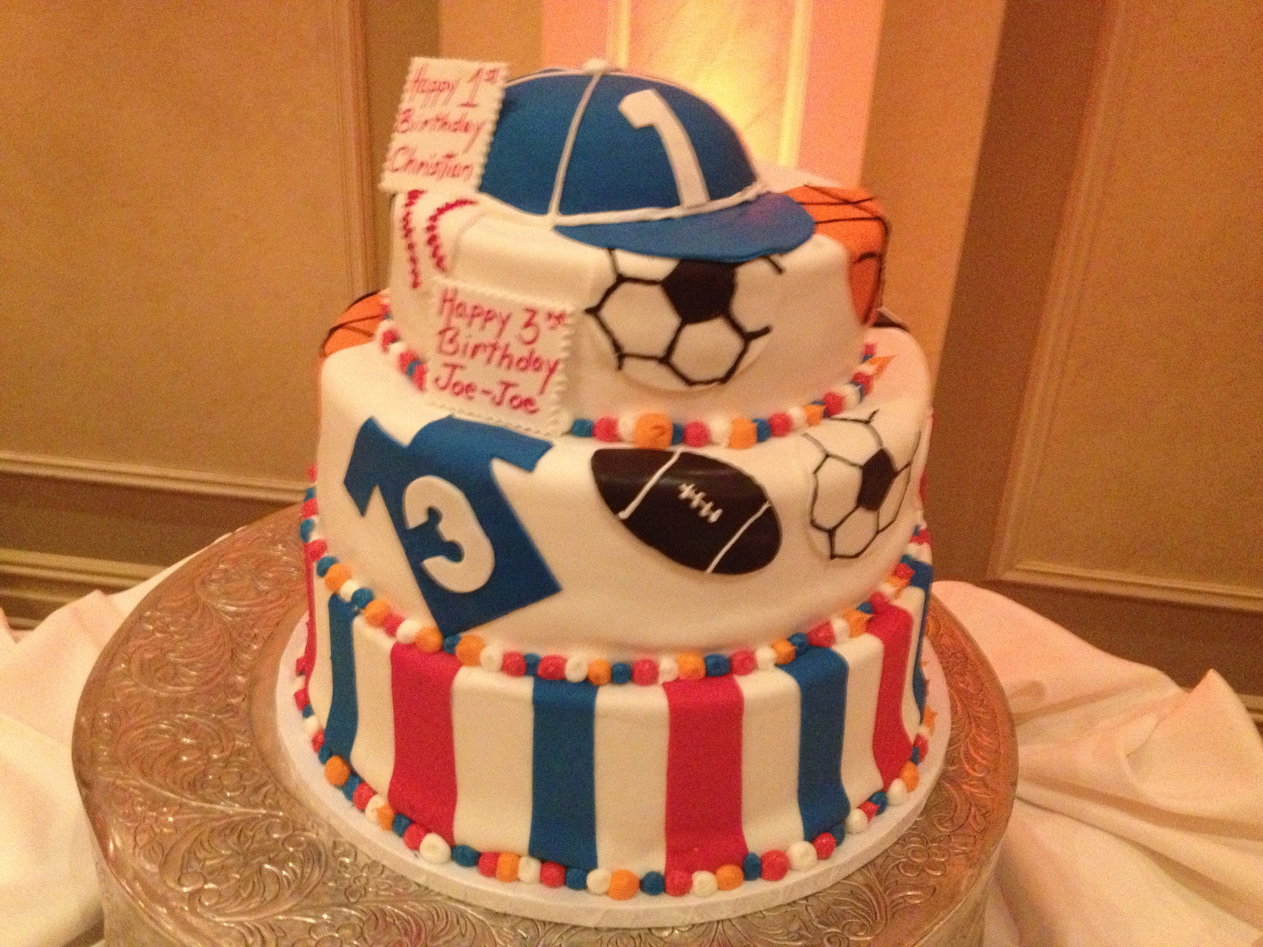 Sports Themed Cake.RF.Jersey.cap.balls