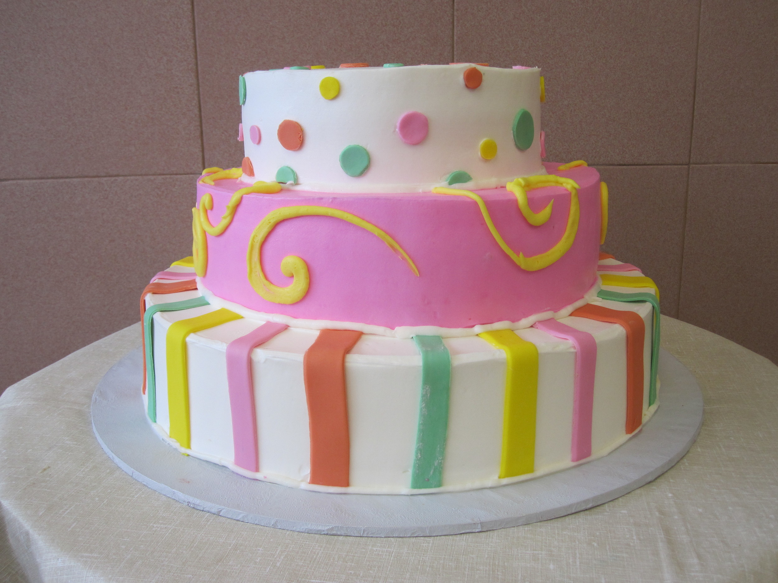 3Tier ButterCream.1st 3rd tier w stripes.polkadots. 2nd rier colored buttercream