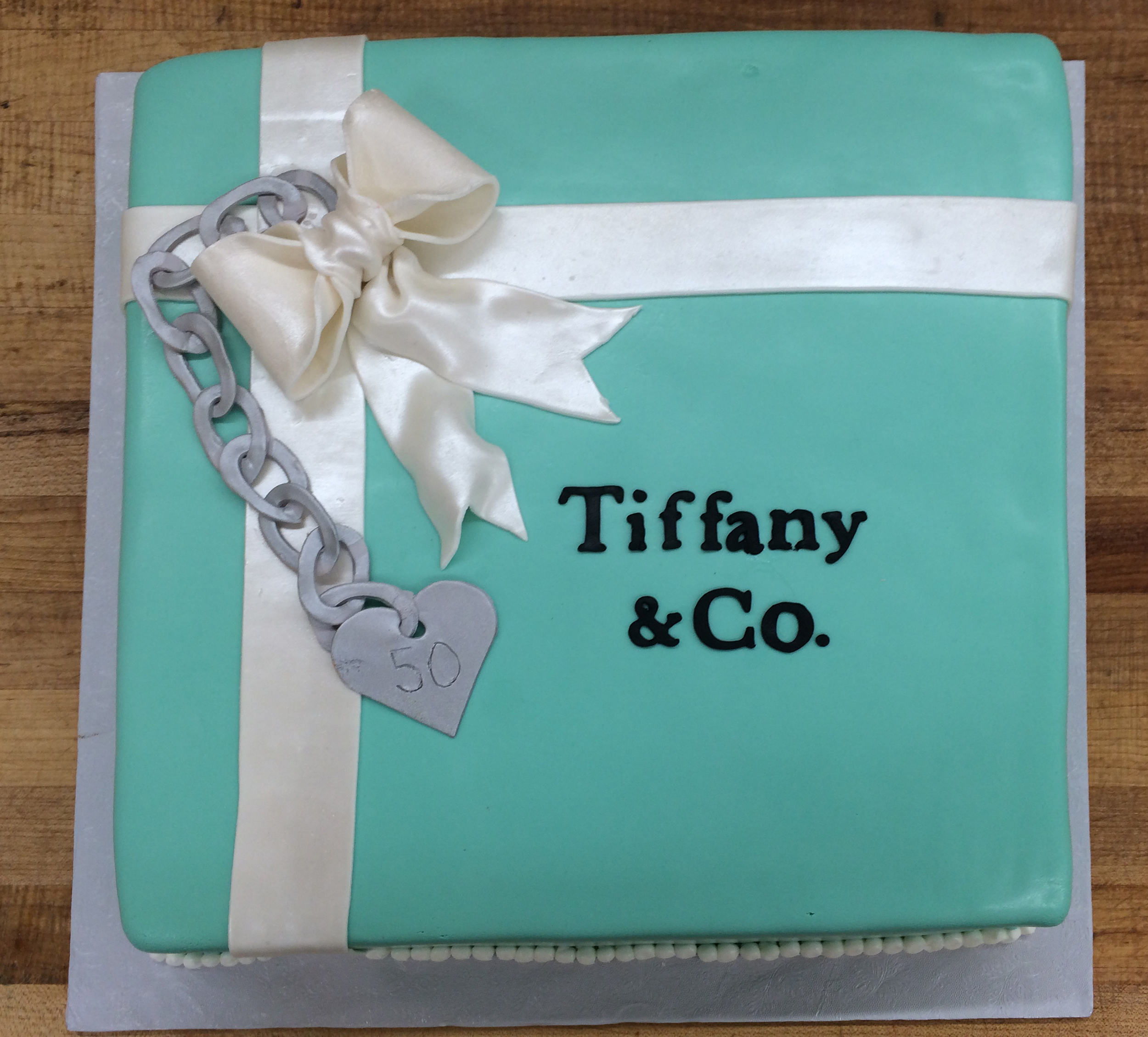 Tiffany with Silver Charm in Rolled Fondant with lg bow & Rolled Fondant letters