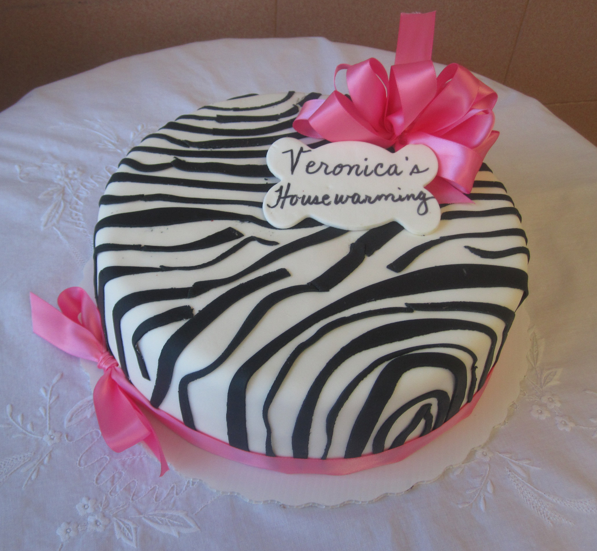 Rolled Fondant Zebra Print with Material Ribbon & Bow