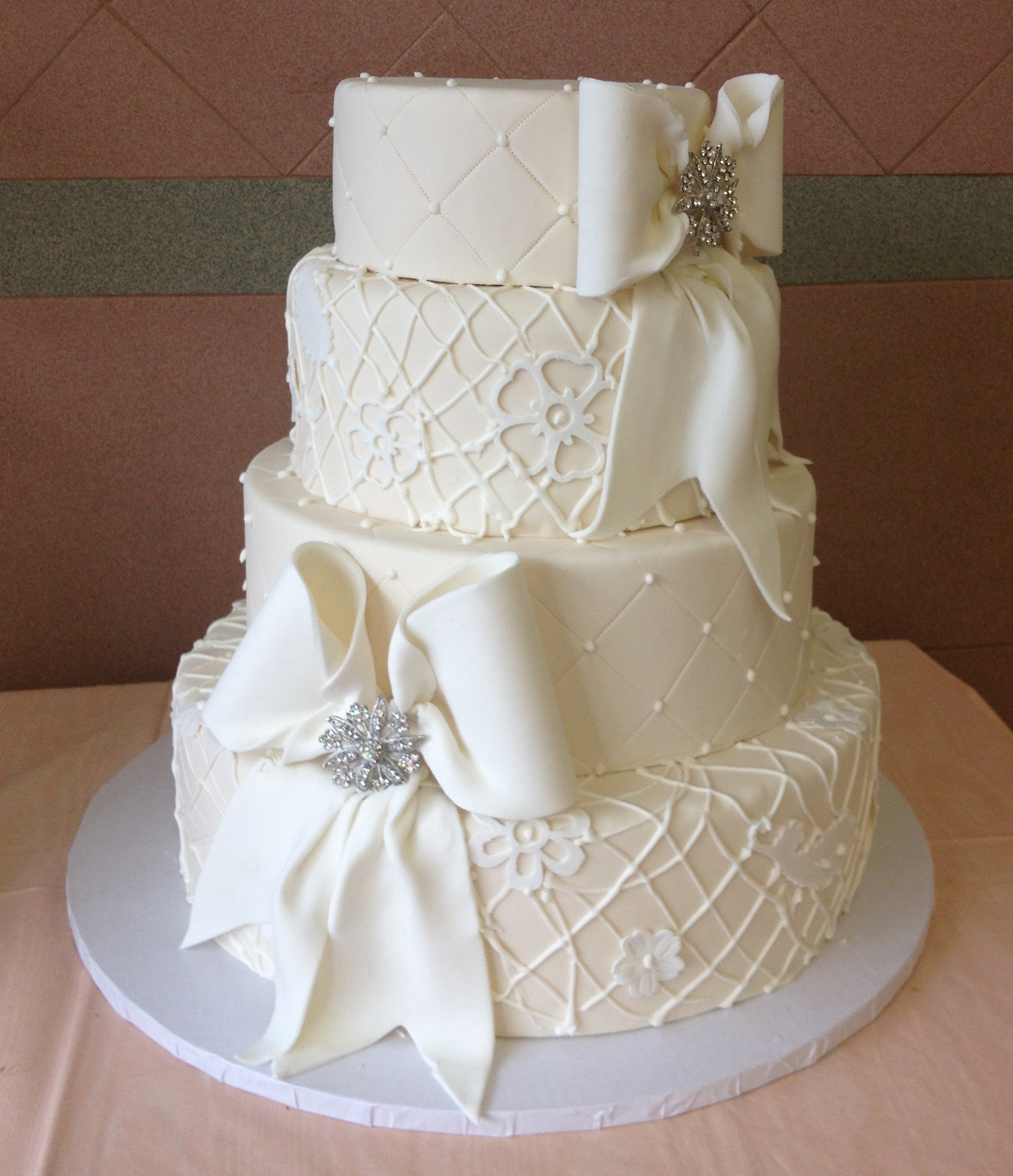 49 in Ivory Rolled Fondant with White Accents & Large Bows