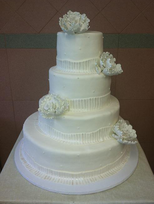 Rolled Fondant, Additional Tier Height, Ribbed Ribbon Large Peony