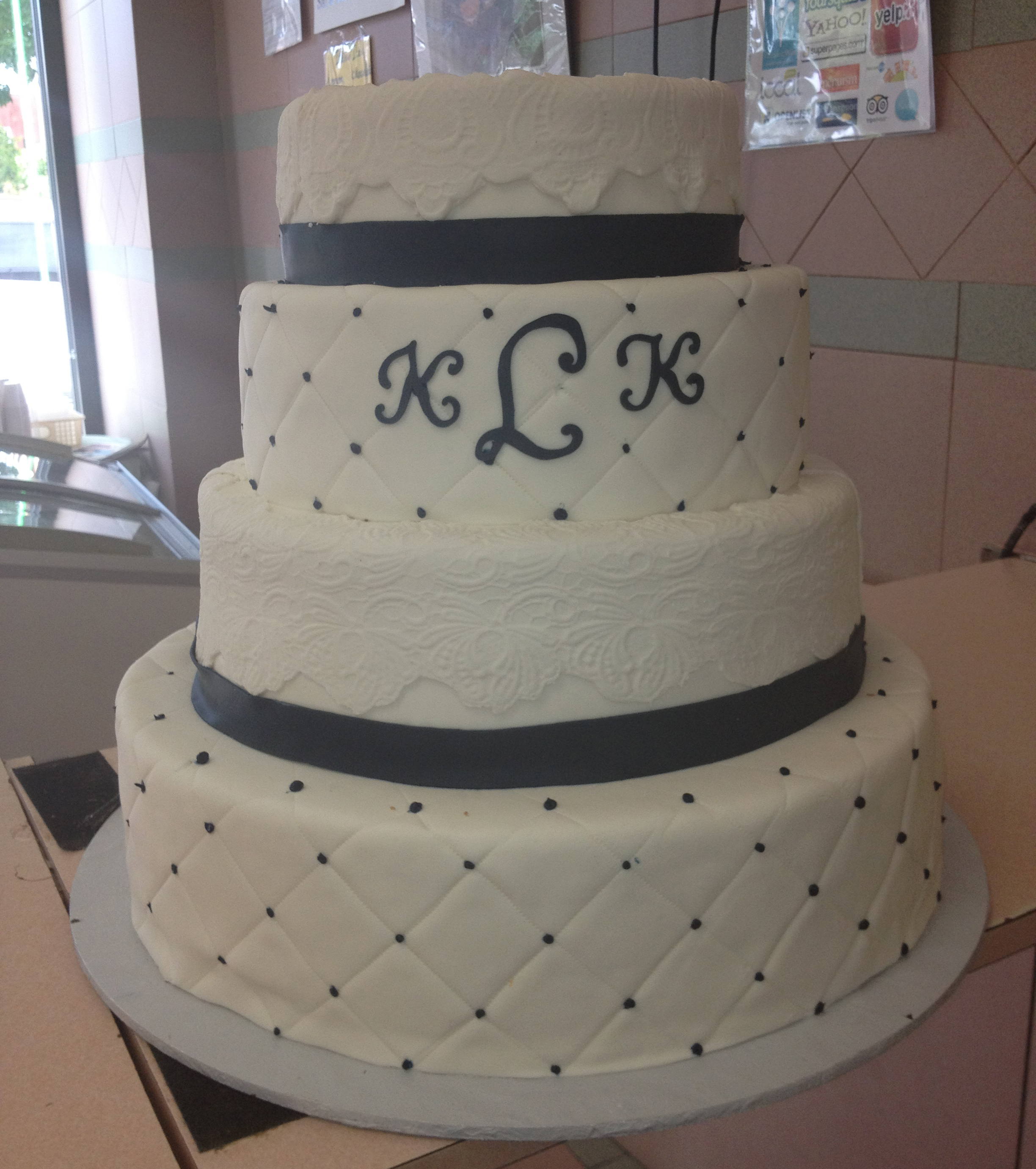 Rolled Fondant, Higher Tiers Quilted, Banding, Ribbon & Monogram