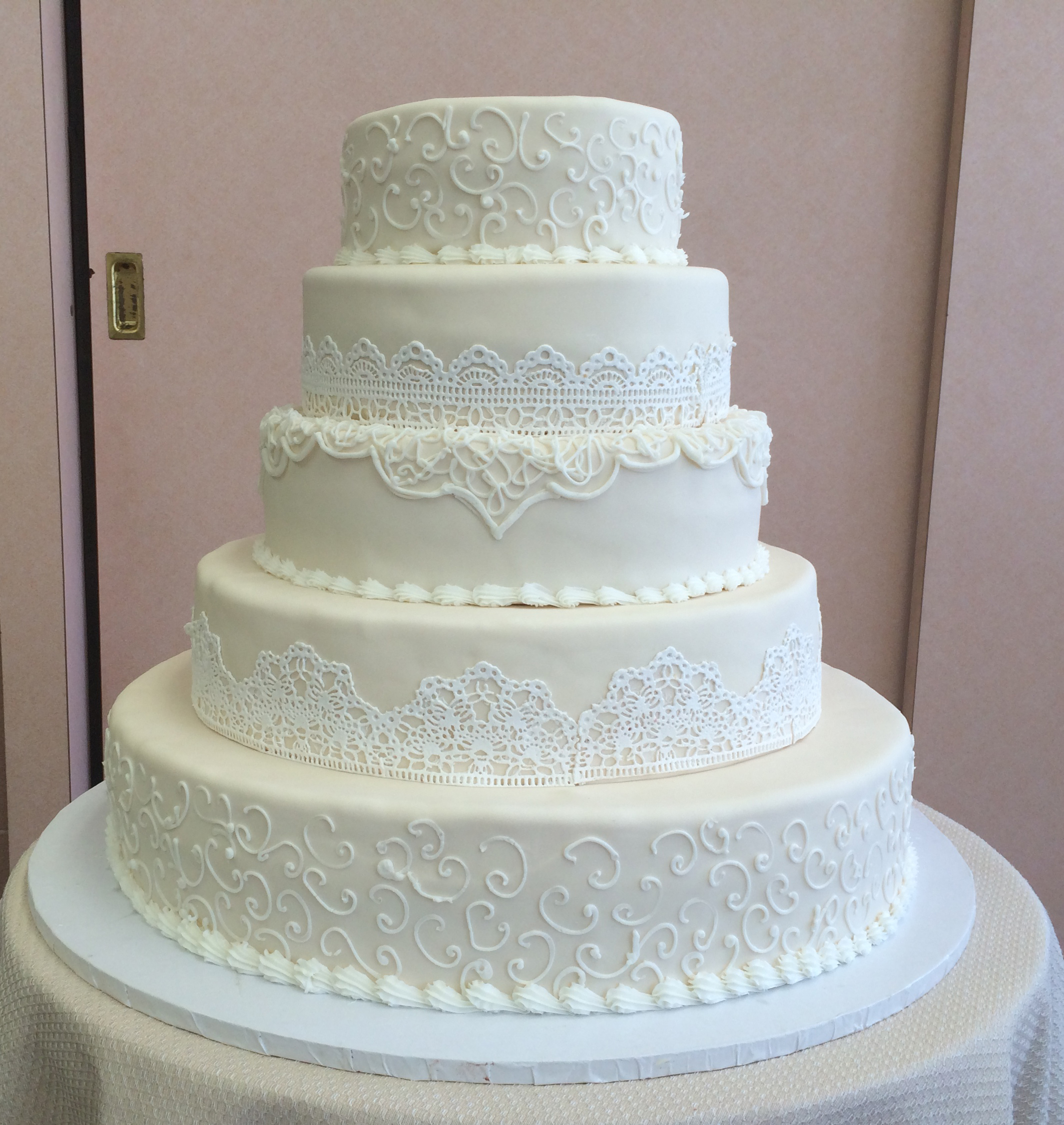Ivory Rolled Fondant with White Sugar Veil Lace & Scrolls