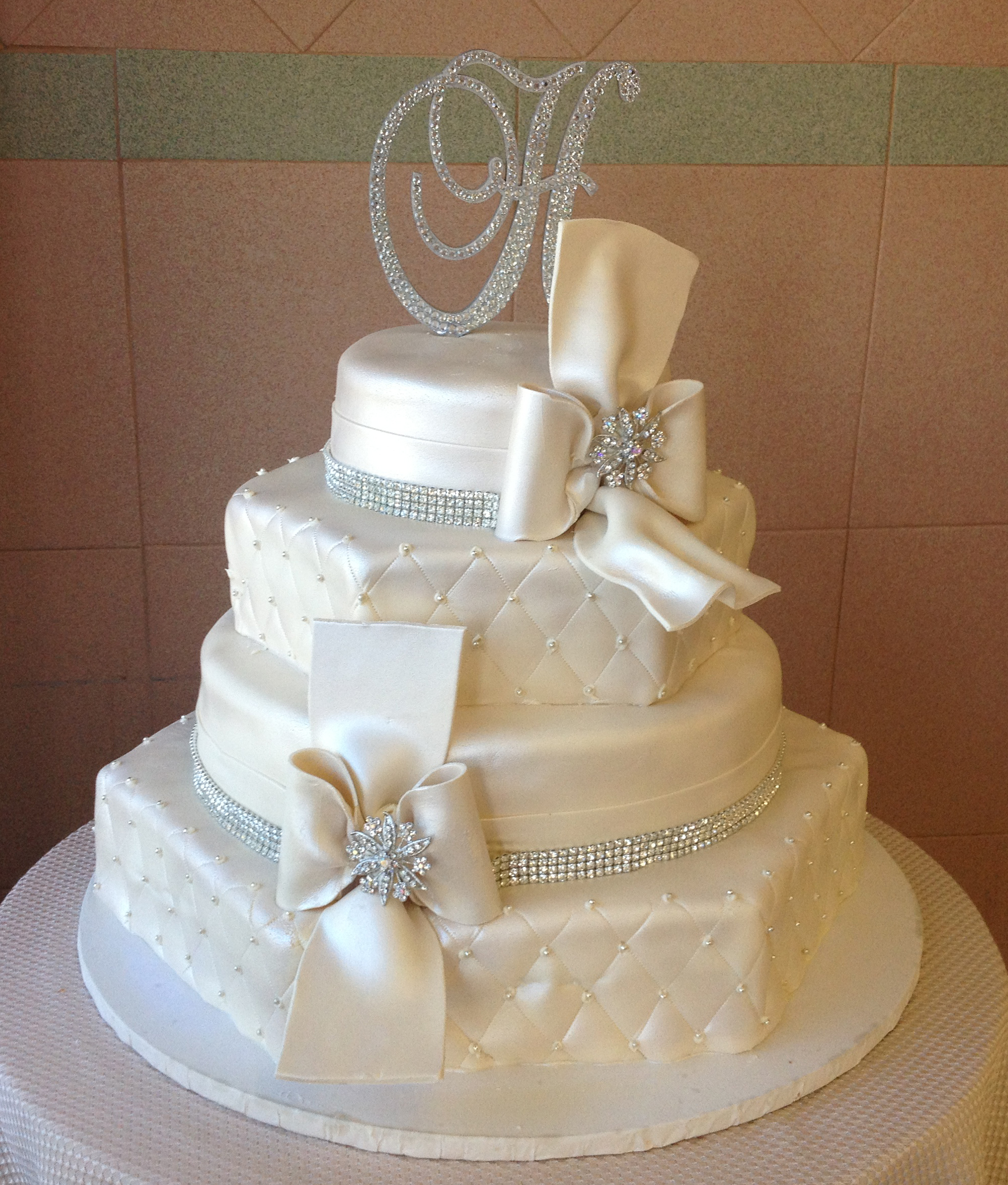 62 Ivory Rolled Fondant, Quilted, Hexagon, Ribbon, Bow, Crystals, Pearlized