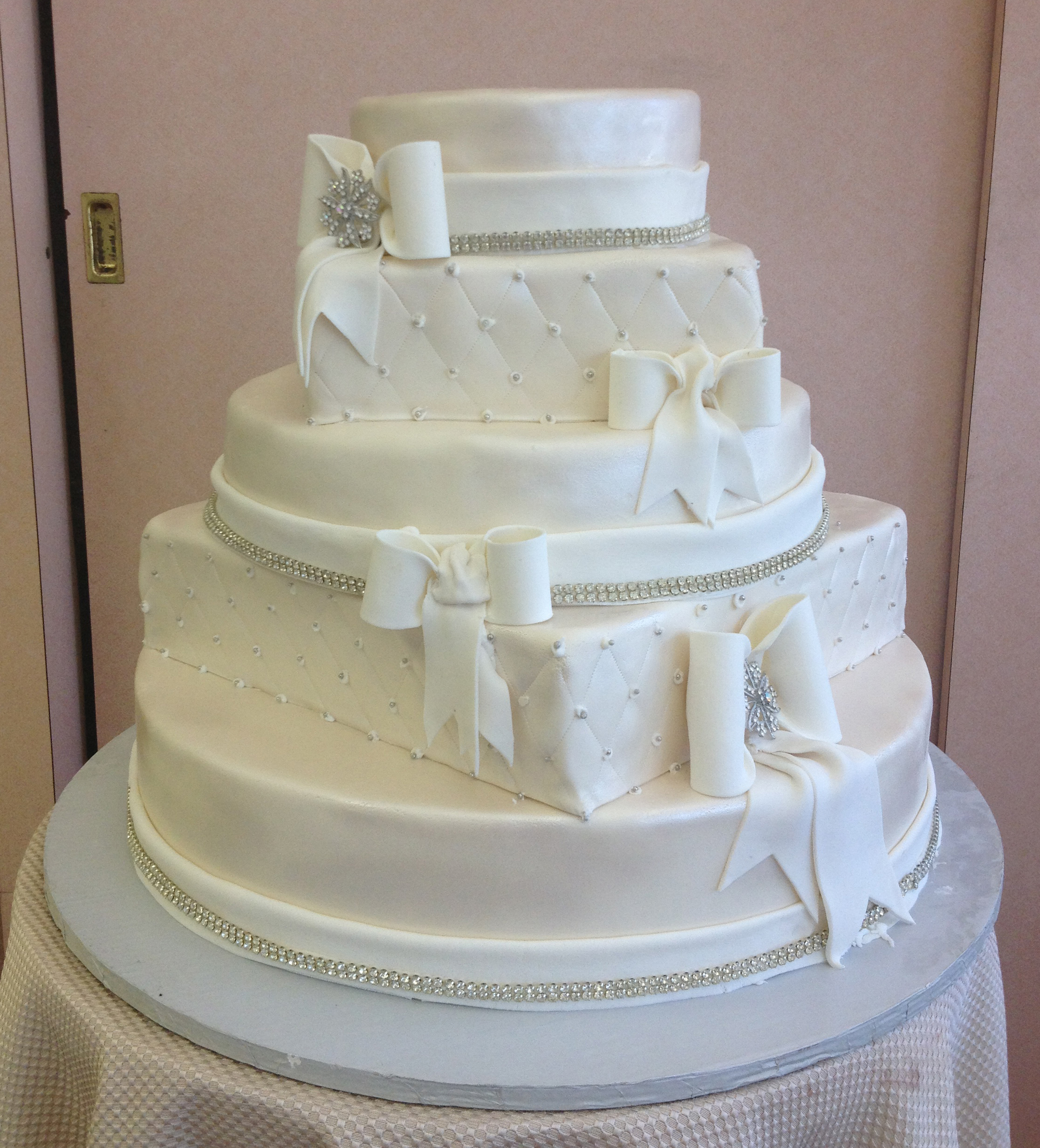 Ivory Rolled Fondant Round & Square with White Accents & Crystals
