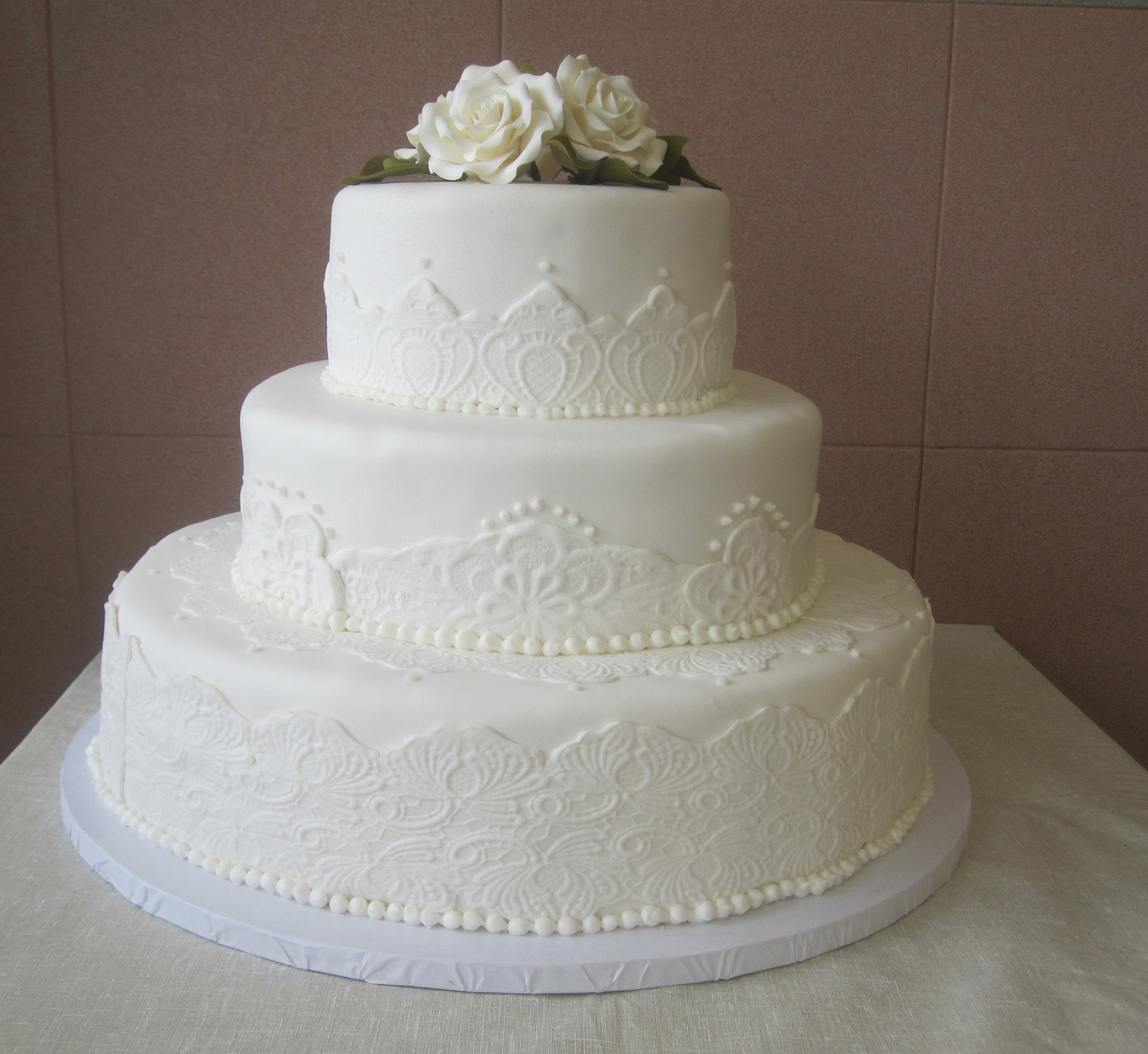 Rolled Fondant with Patterned Banding & Rolled Fondant Roses
