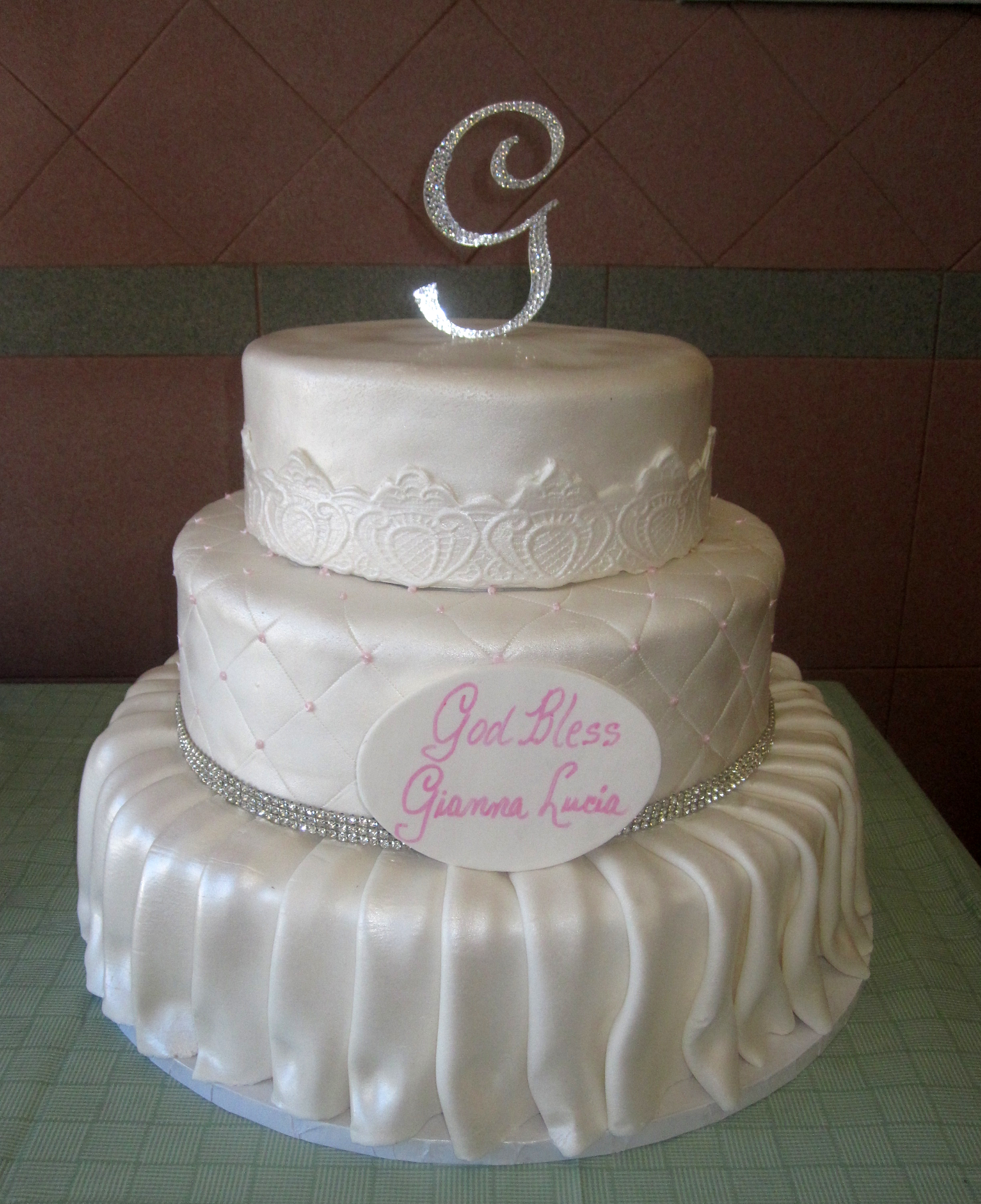 Rolled Fondant Skirted, Quilted & Banding Pearlized. Crystals