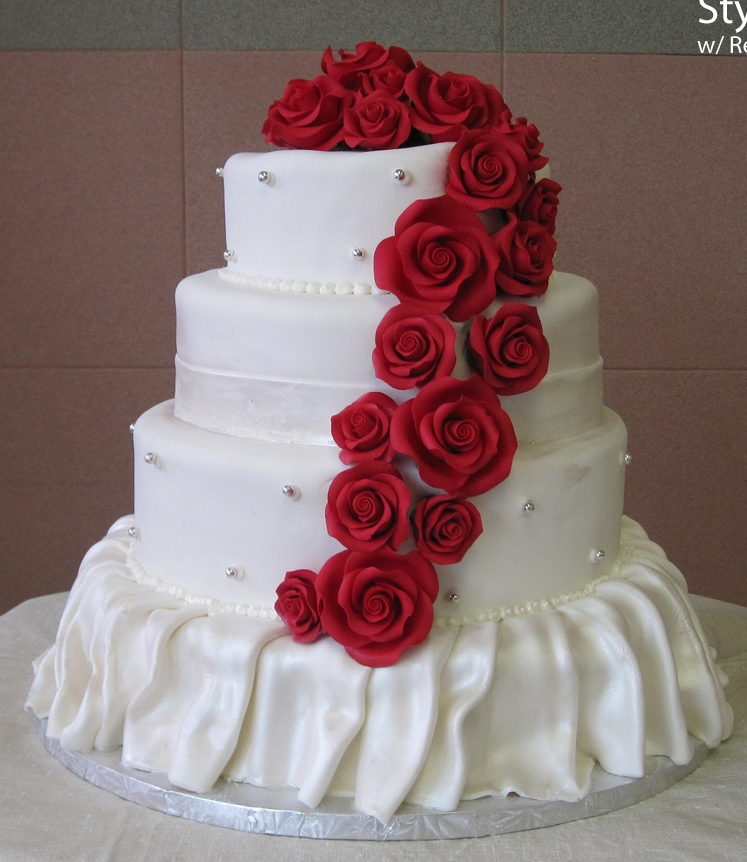 45 Red Cascading Roses, no Bows