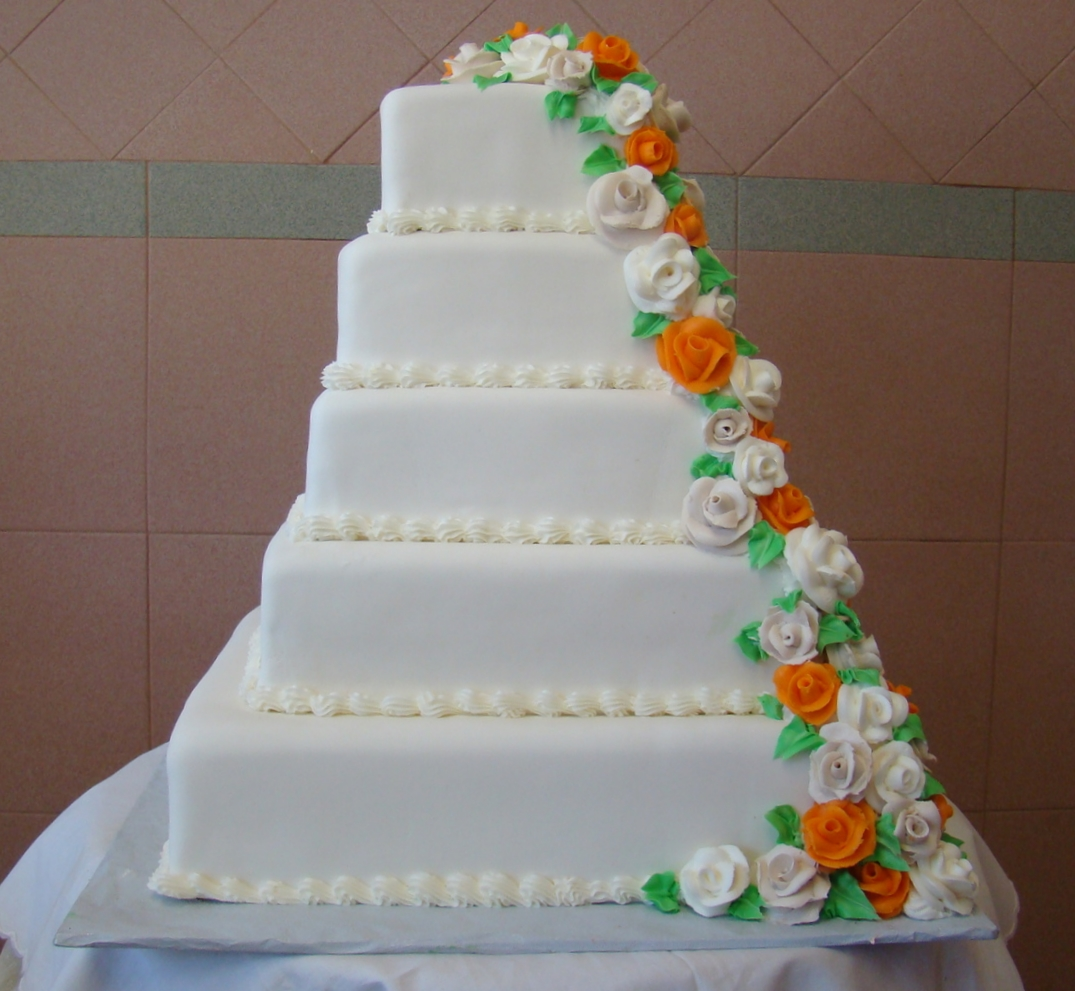 50 in Rolled Fondant with Butter Cream Roses