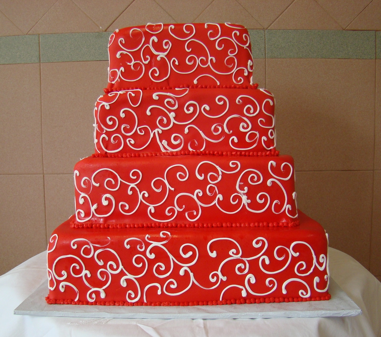 35 Square in Red Rolled Fondant