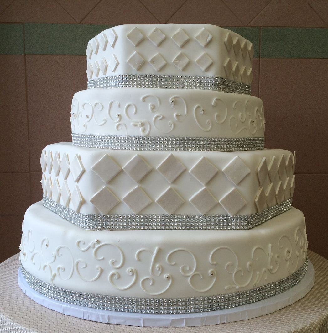 63.Rolled Fondant. Hexagon.Diamond Pearlized Cut-Outs with Faux Crystals
