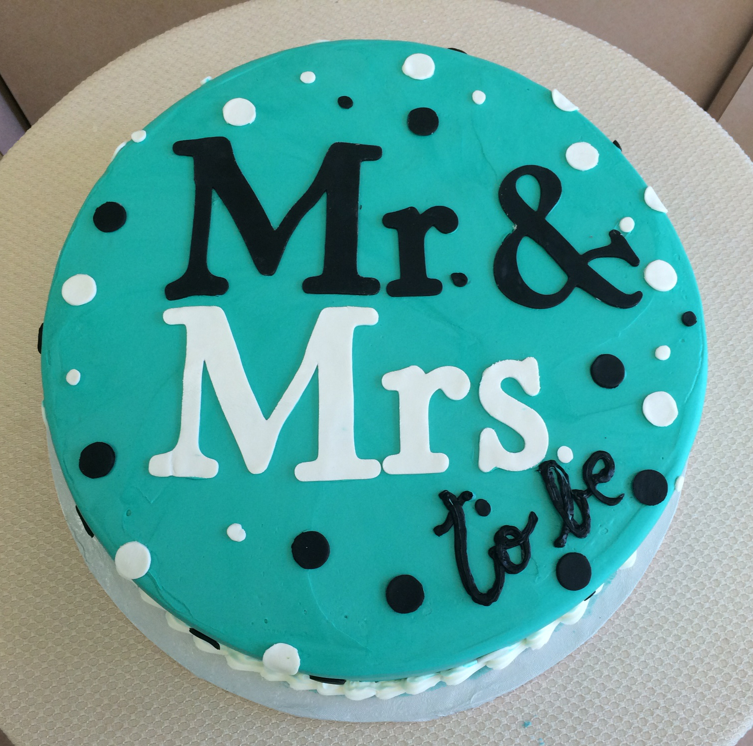 Mr. & Mrs. with Rolled  Fondant Polka Dots