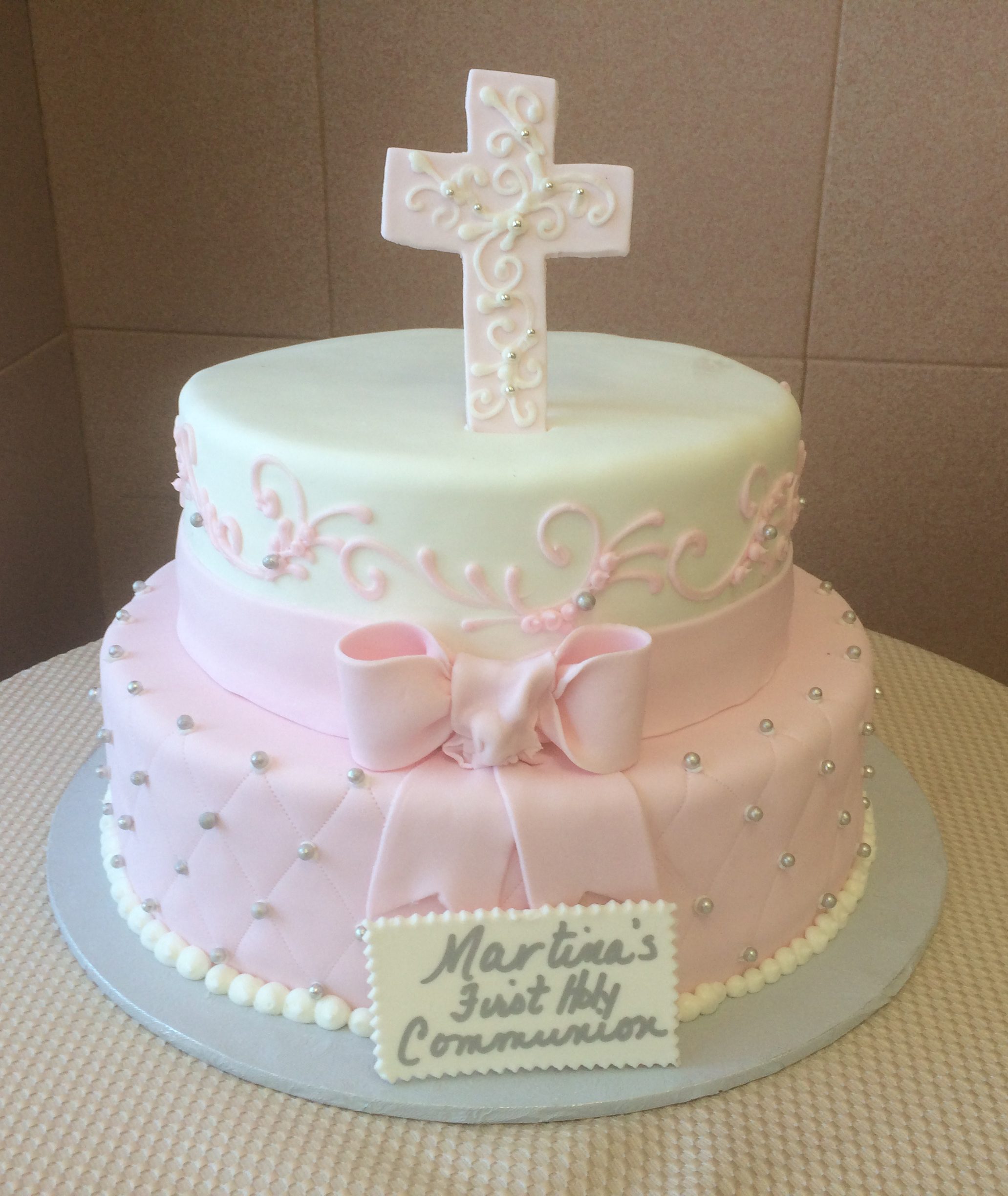 Light Pink Rolled Fondant, Quilted, White Rolled Fondant with Bow & Band. Standing Plain Rolled Fondant Cross
