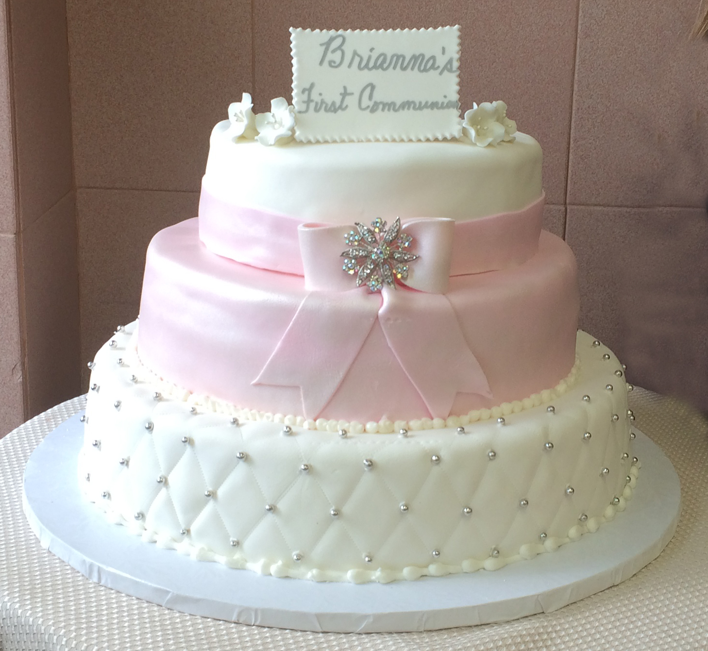 Rolled Fondant Quilted, Pearlized Pink Bow, Band & Brooch