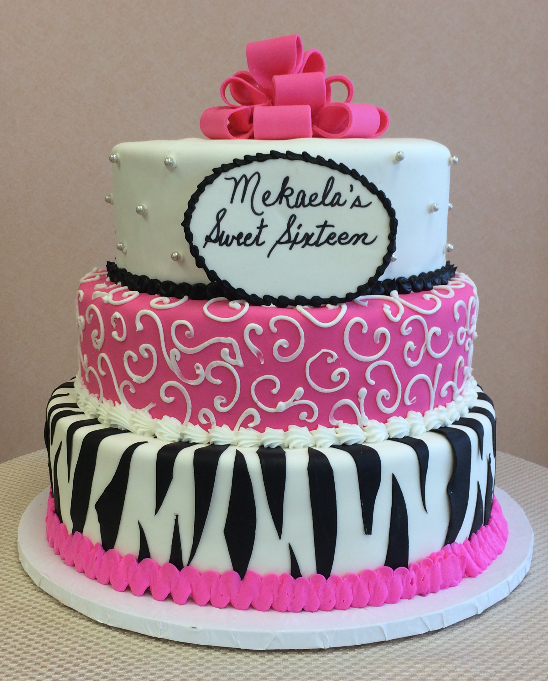 Rolled Fondant, Zebra Print, Pink Rolled Fondant, silver pearls, Full Pink Bow