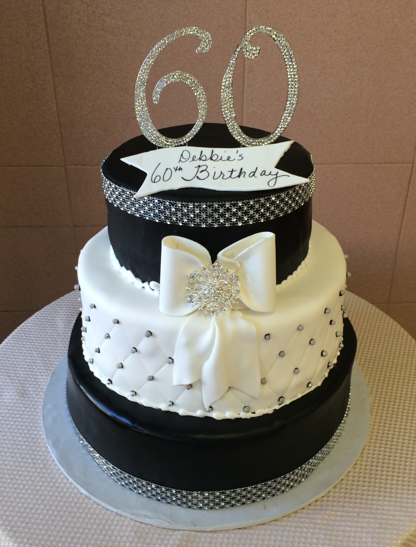 Black Rolled Fondant, White Quilted with Large White Bow & Brooch with Faux Crystals