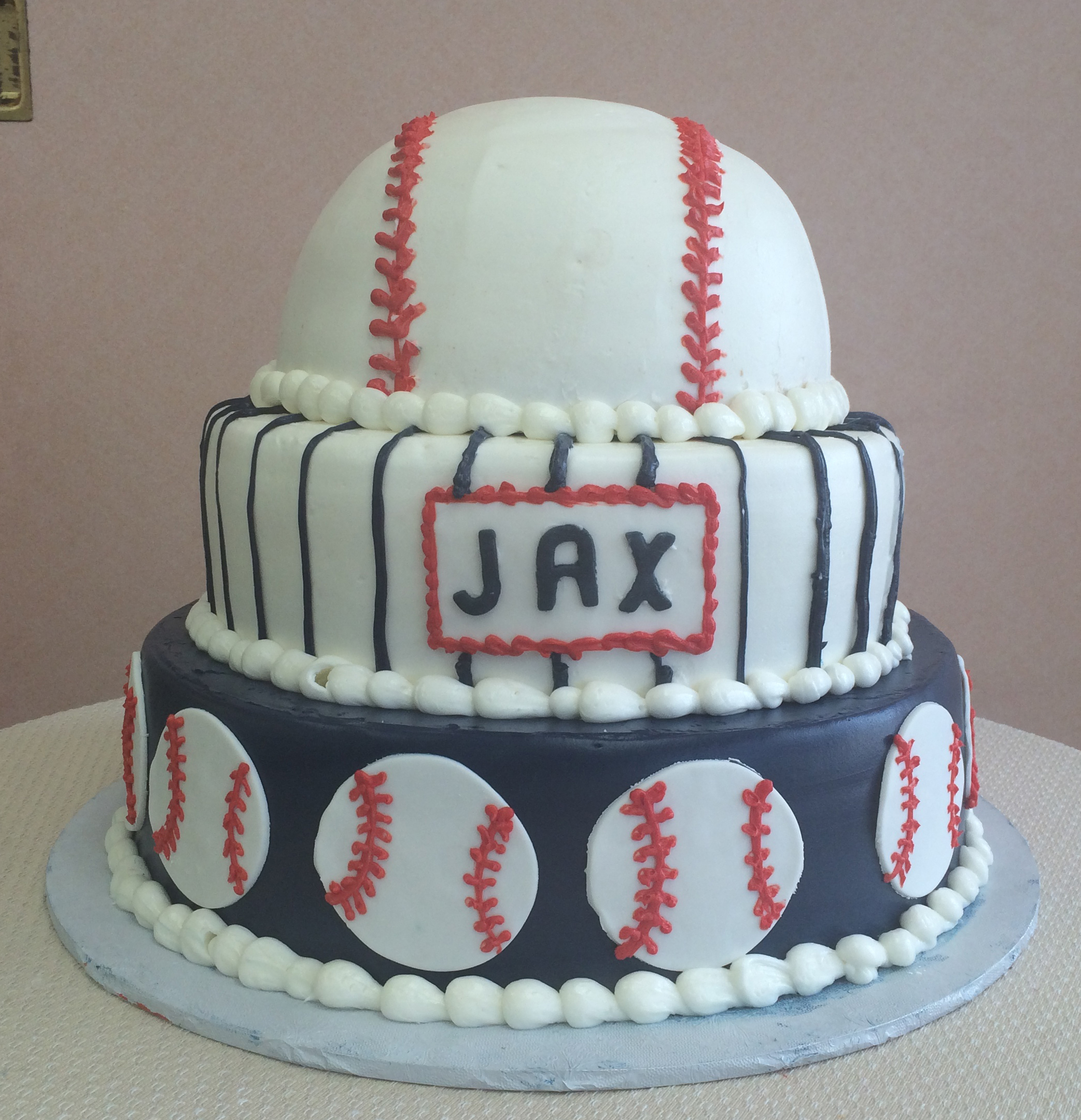 Butter Cream with Fondant Baseball Cut-Outs, Pin Stripes & Baseball Tier
