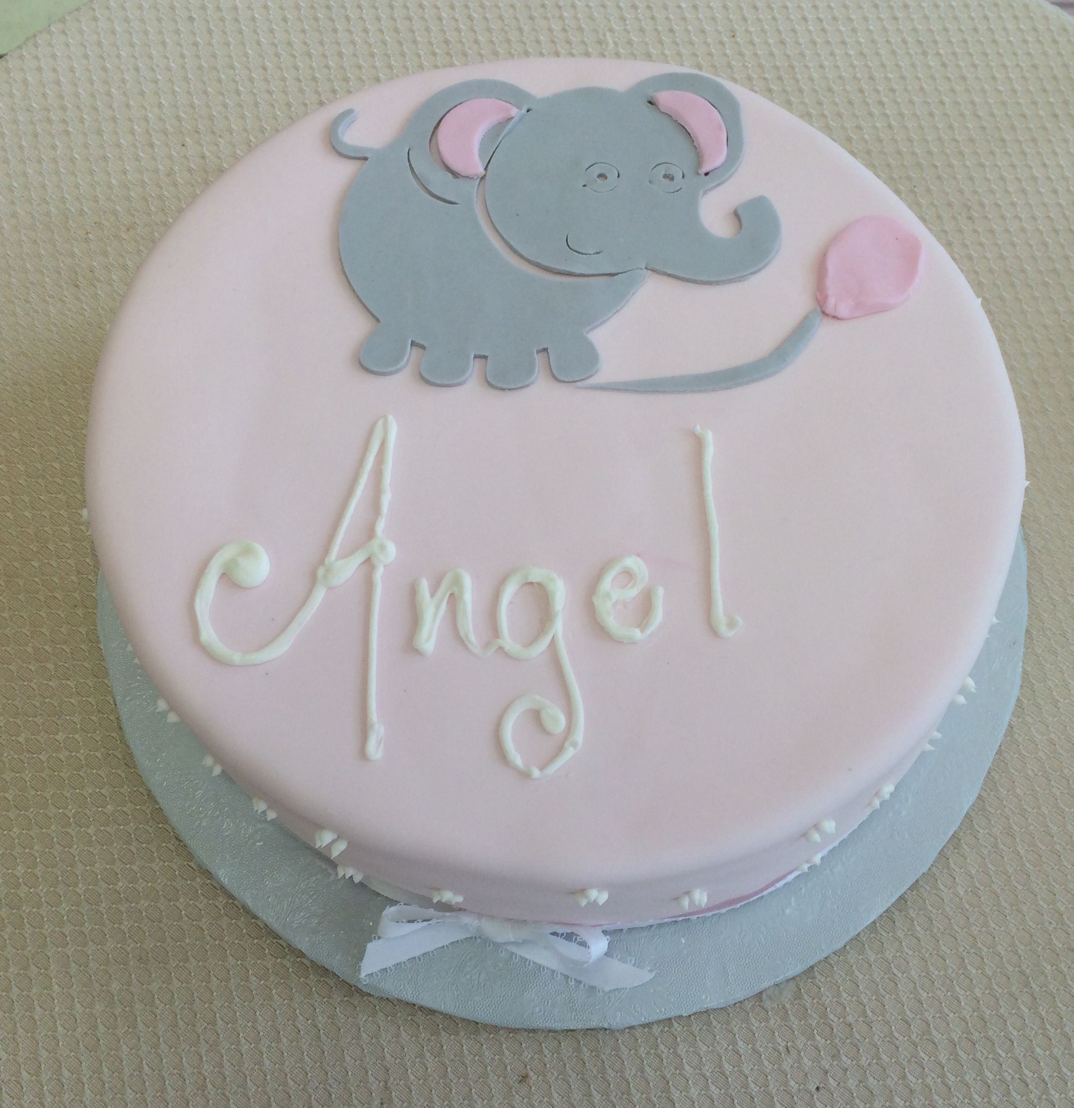Pink Rolled Fondant with Rolled Fondant Elephant Cut-Out