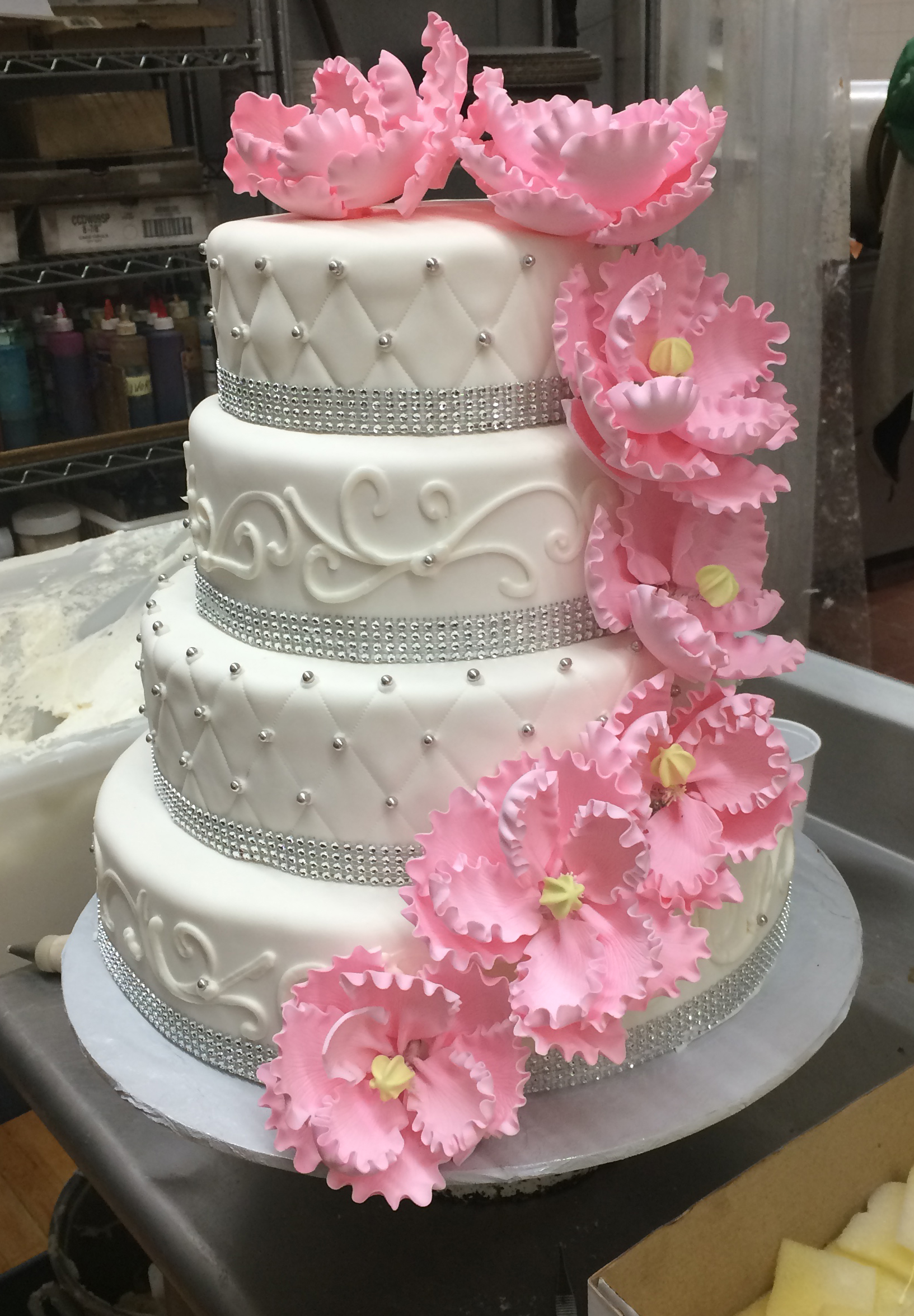 White Rolled Fondant, Quilted with Silver, Faux Crystals with Cascading Pink Peonies.JPG