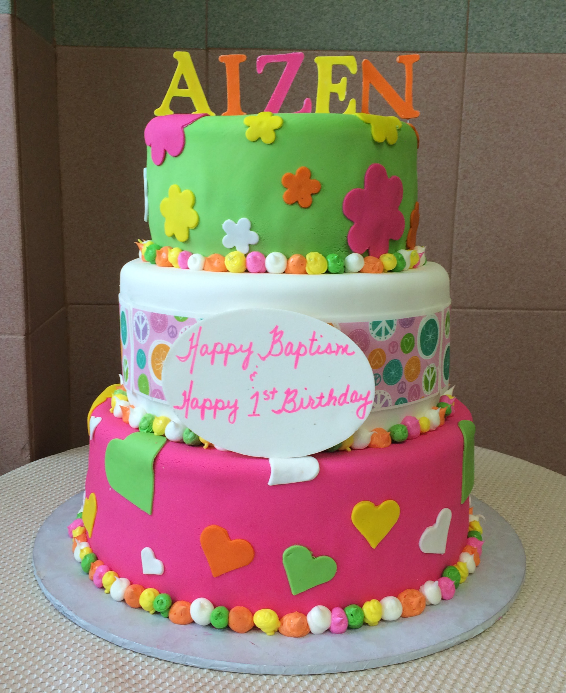 Rolled Fondant in Color, Hearts, & Posie Cut-Outs, with Multicolor Butter Cream Border. Standing Rolled Fondant Letters