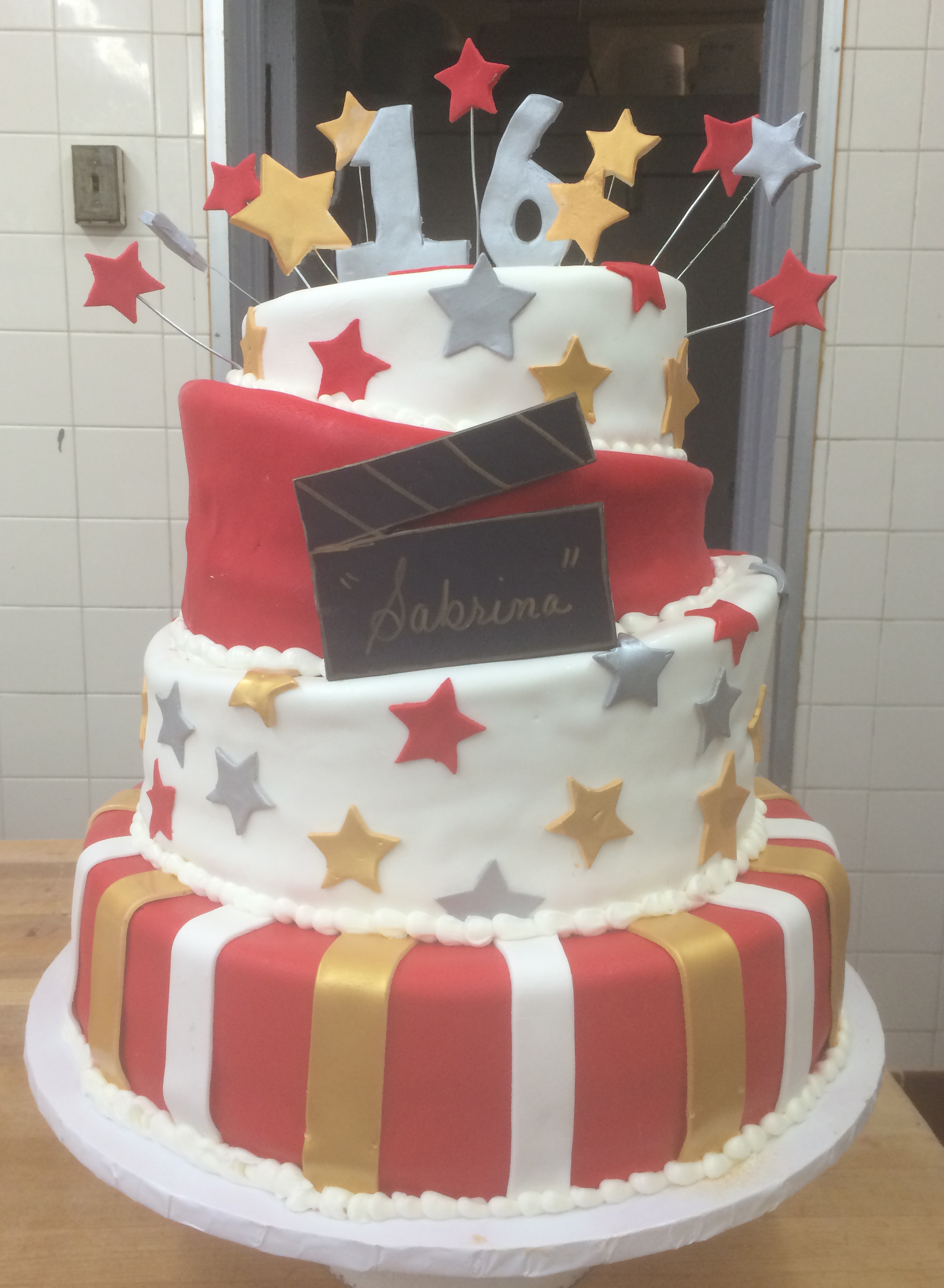 Rolled Fondant, Colored Rolled Fondant, Two Angled Tiers, Clapboard, with Rolled Fondant Stripes, Stars & Floating, Standing Numbers