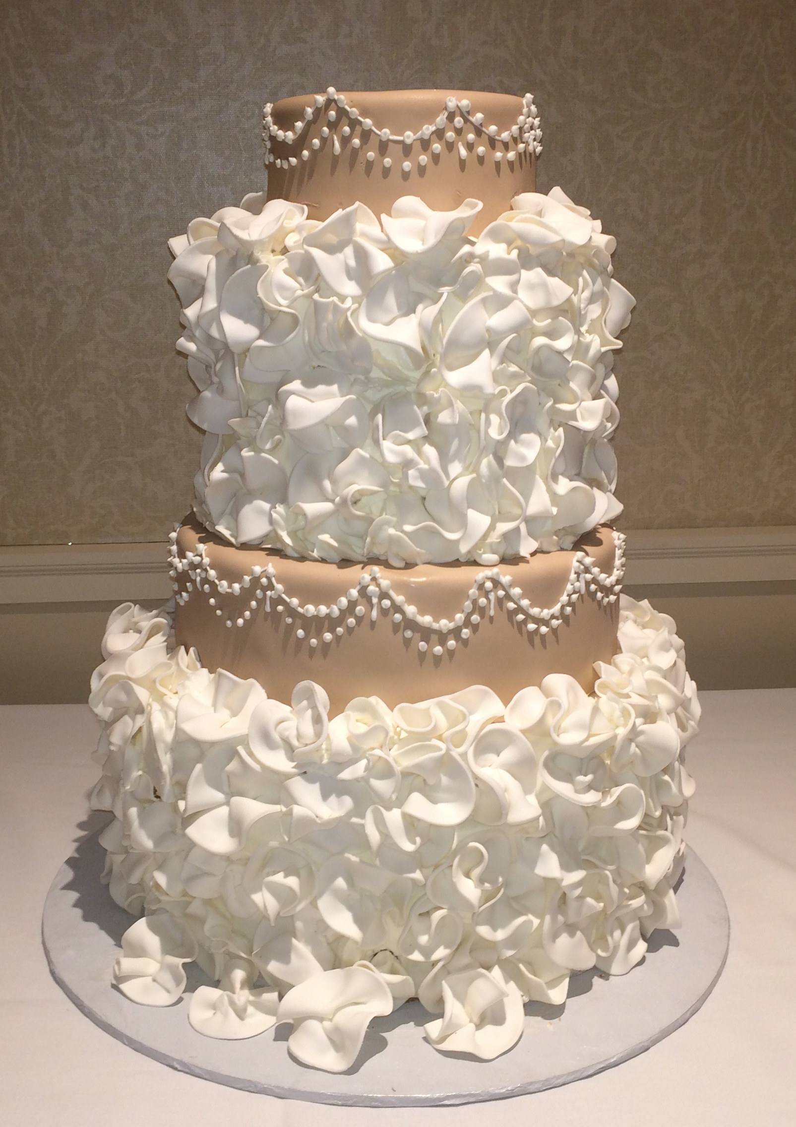 Ruffled Rolled Fondant Double Tiered with Tan Rolled Fondant Single